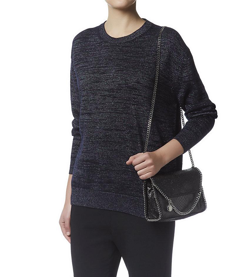 Stella McCartney Falabella Tiny Foldover Cross-Body Bag in Black