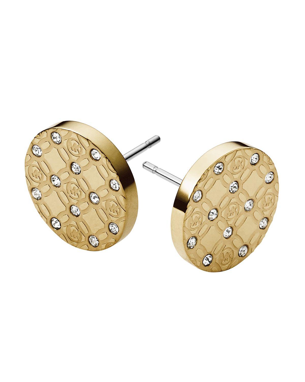 michael kors monogram stud earrings in metallic lyst