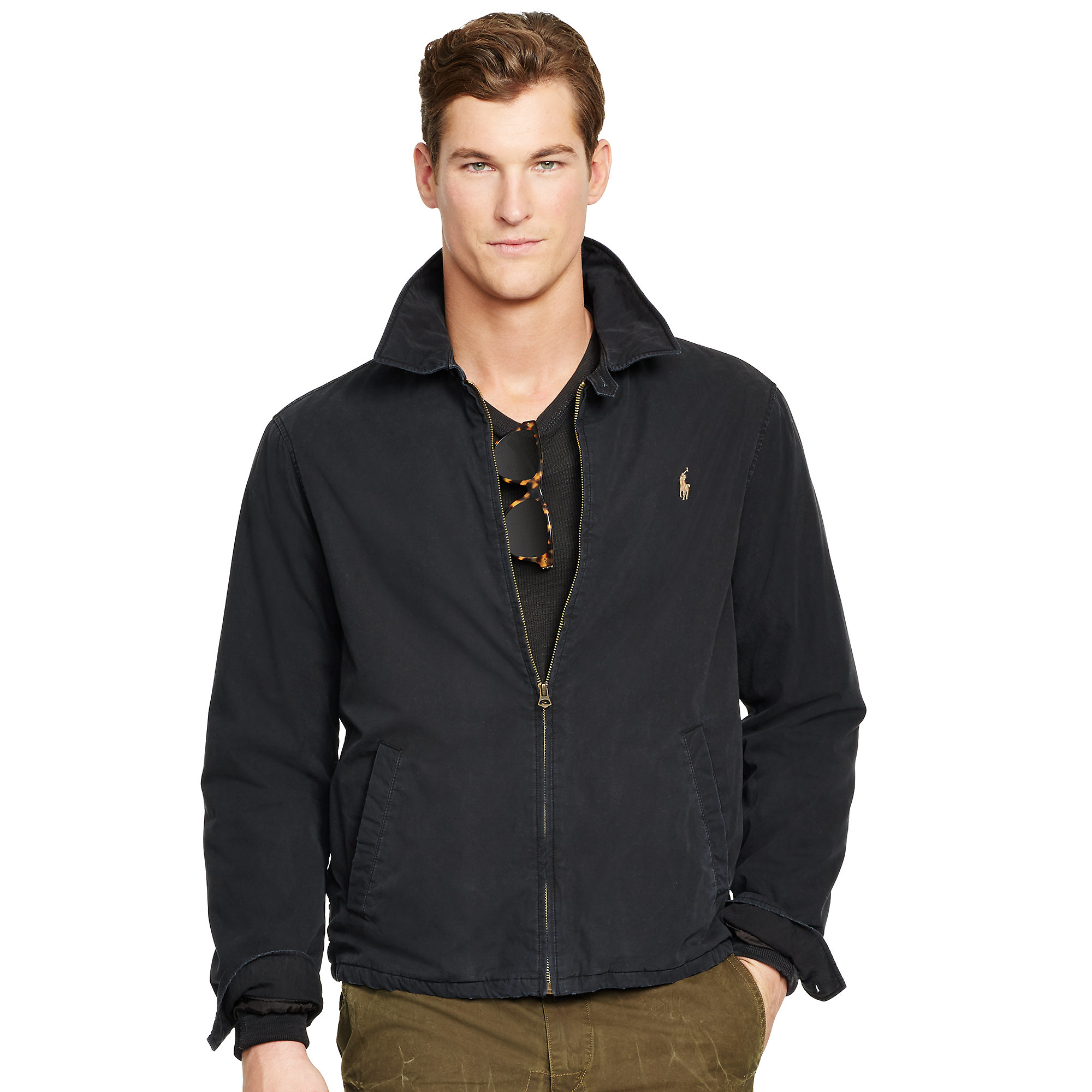 Polo ralph lauren Cotton Poplin Windbreaker in Black for Men | Lyst