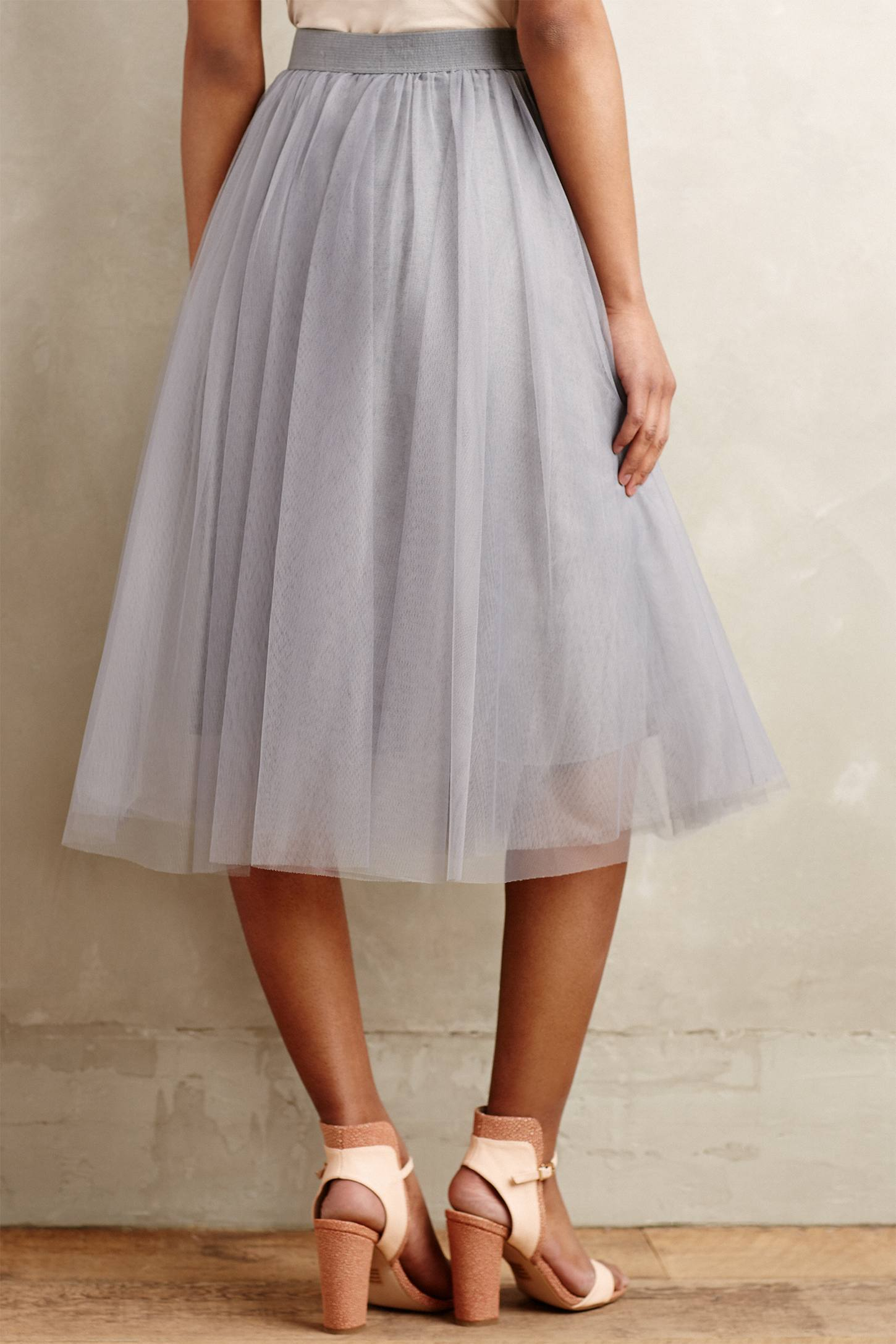 bailey 44 tulle midi skirt in metallic lyst