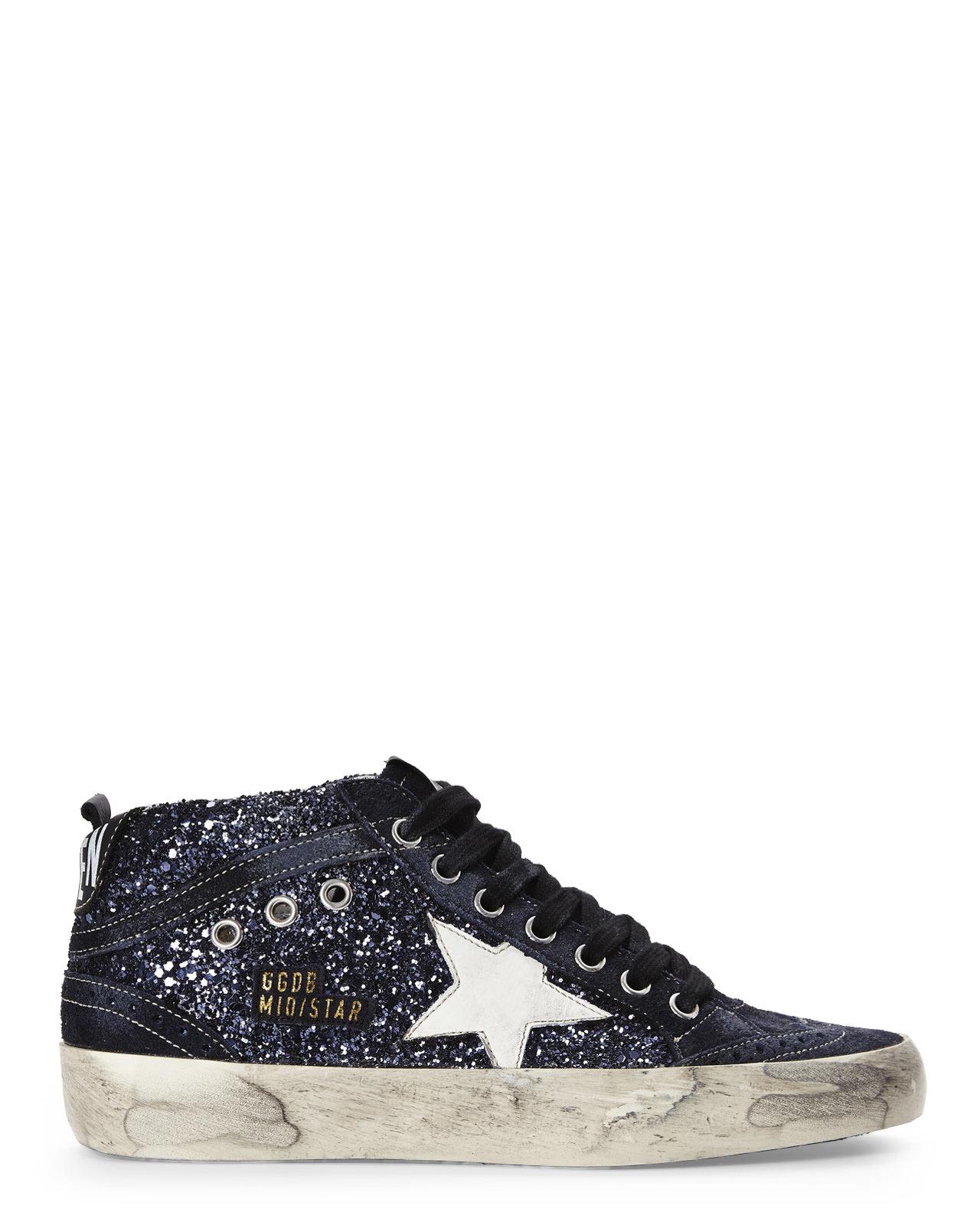 3132213109607 Lyst - Golden Goose Deluxe Brand Blue Glitter Mid Star Sneakers in Blue