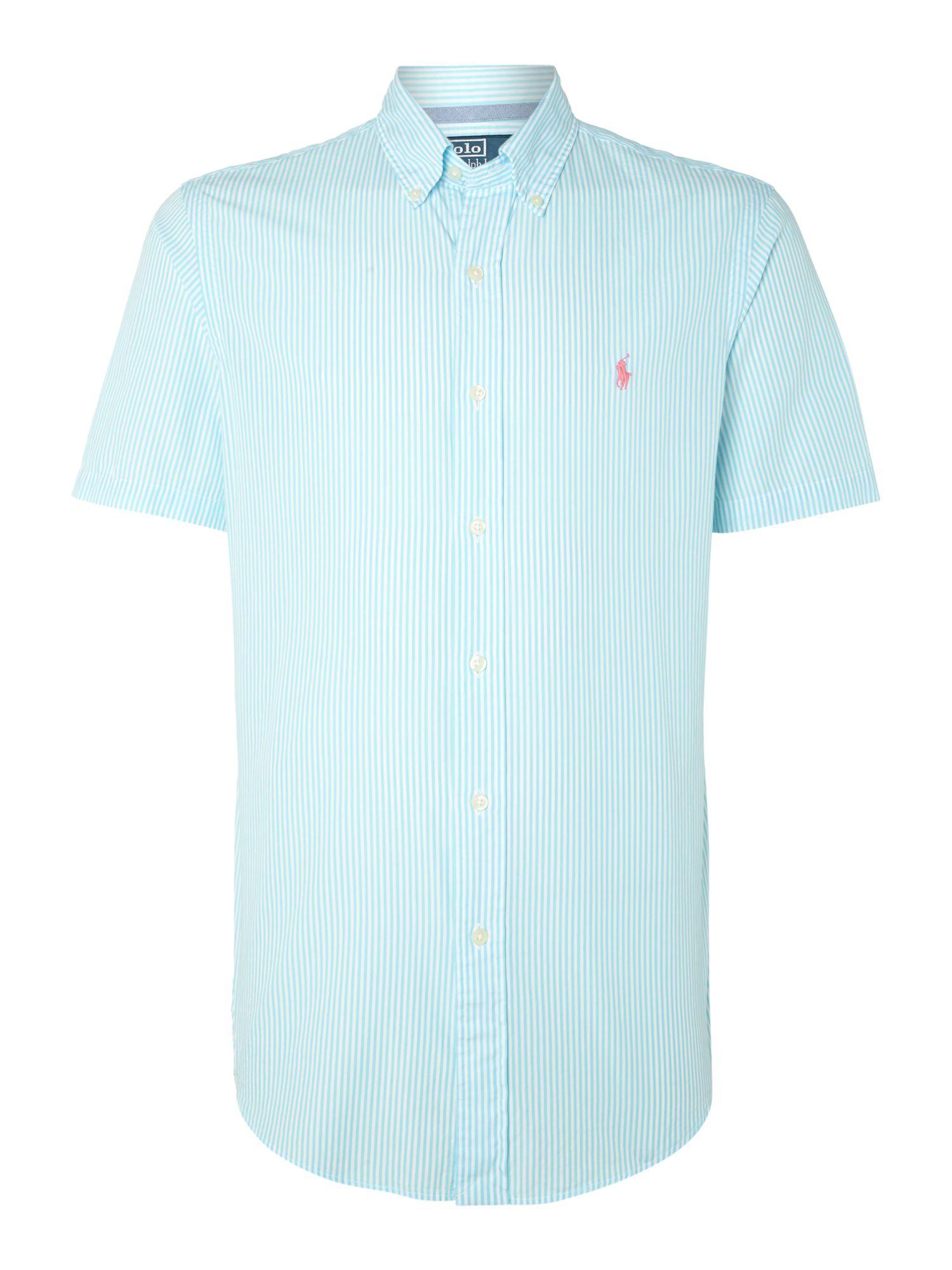 Polo Ralph Lauren Short Sleeve Slim Fit Fine Stripe Shirt in Blue for Men -  Lyst