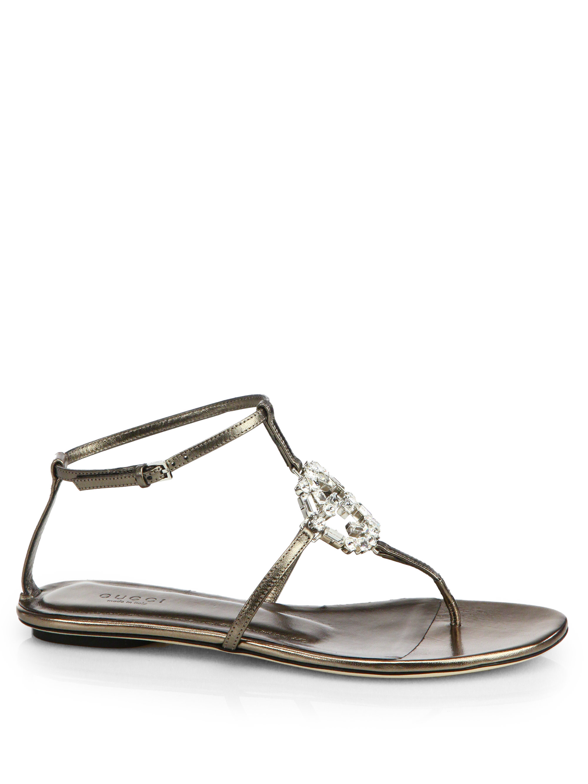Gucci GG Crystal Leather Sandals in Metallic