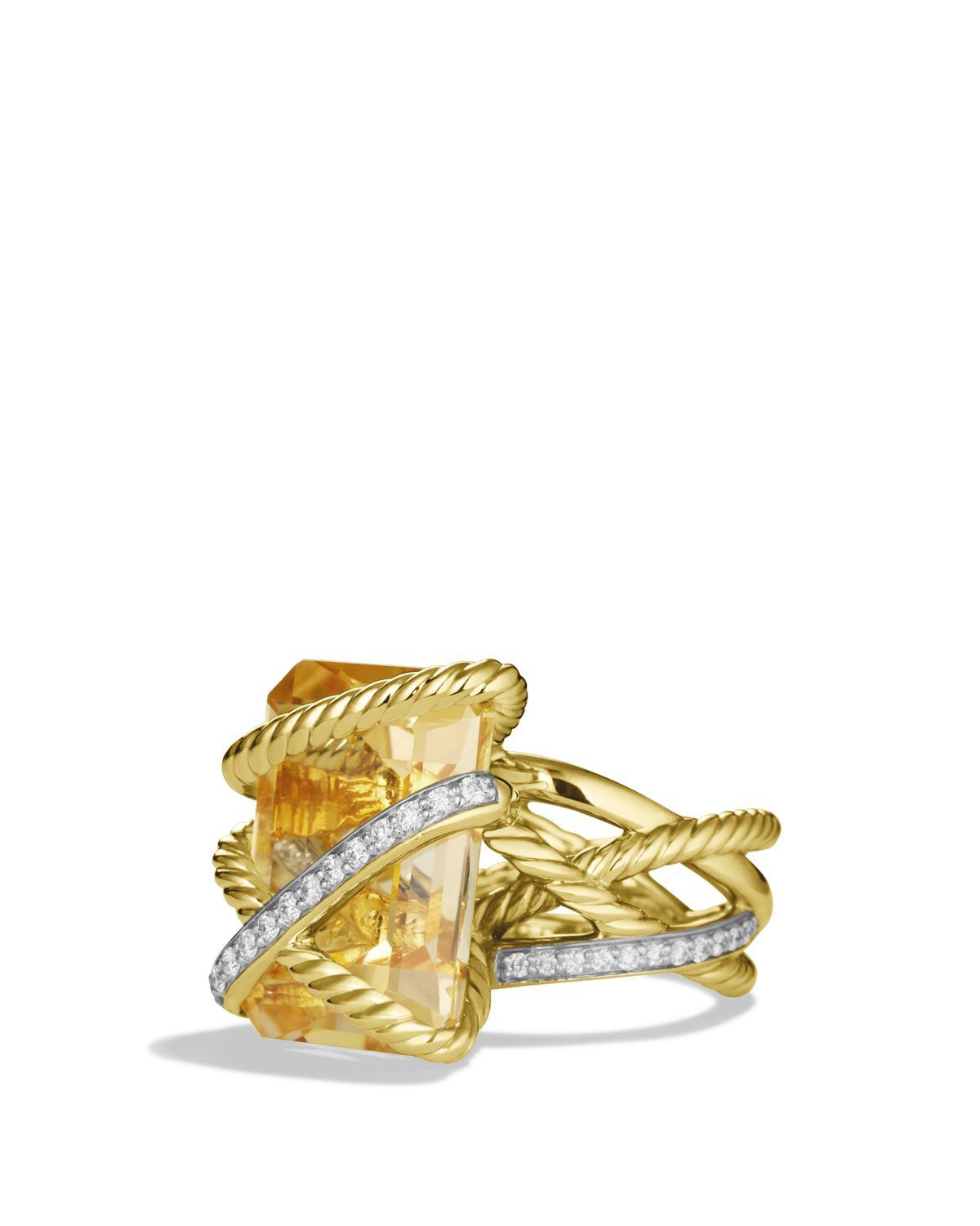 David Yurman Cable Wrap Ring With Champagne Citrine & Diamonds In Gold in Yellow Gold (Yellow)