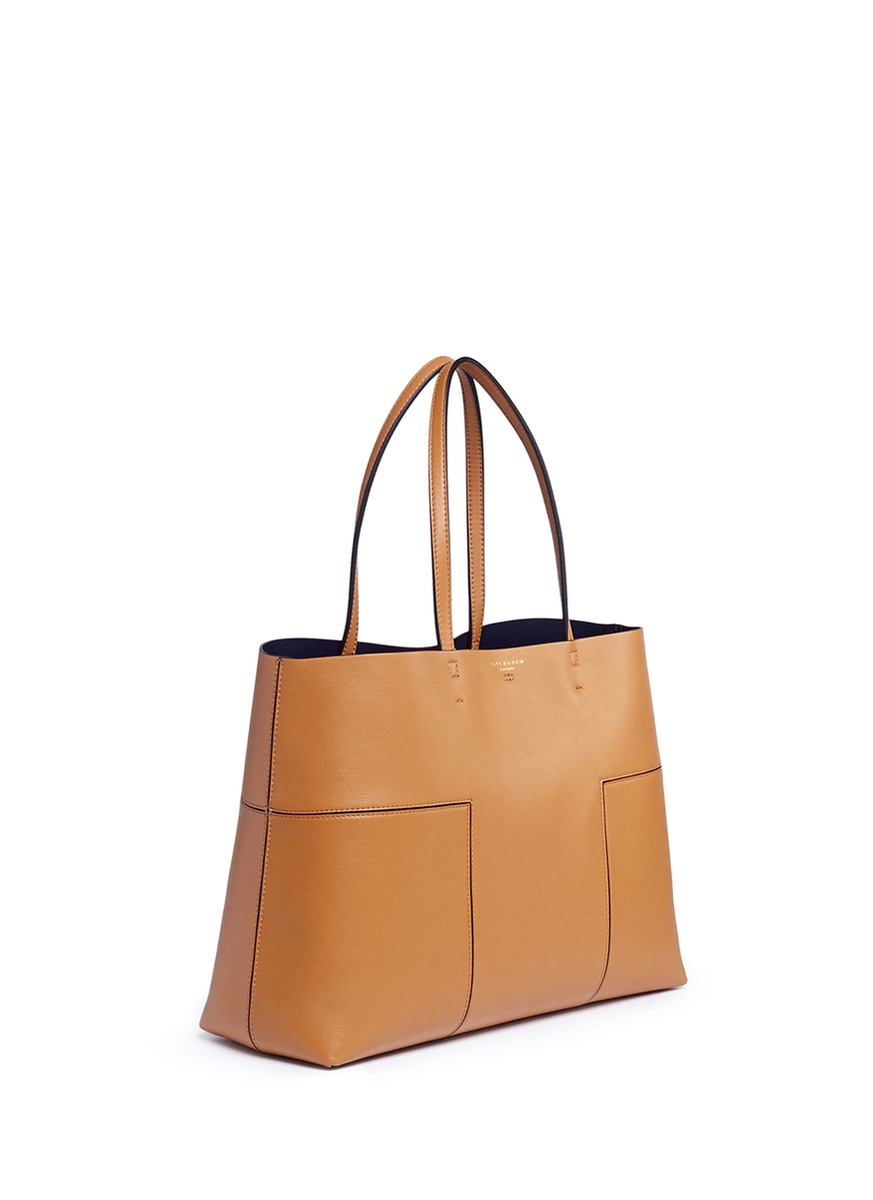 4698ab4868c Lyst - Tory Burch  block-t  Leather Tote in Brown