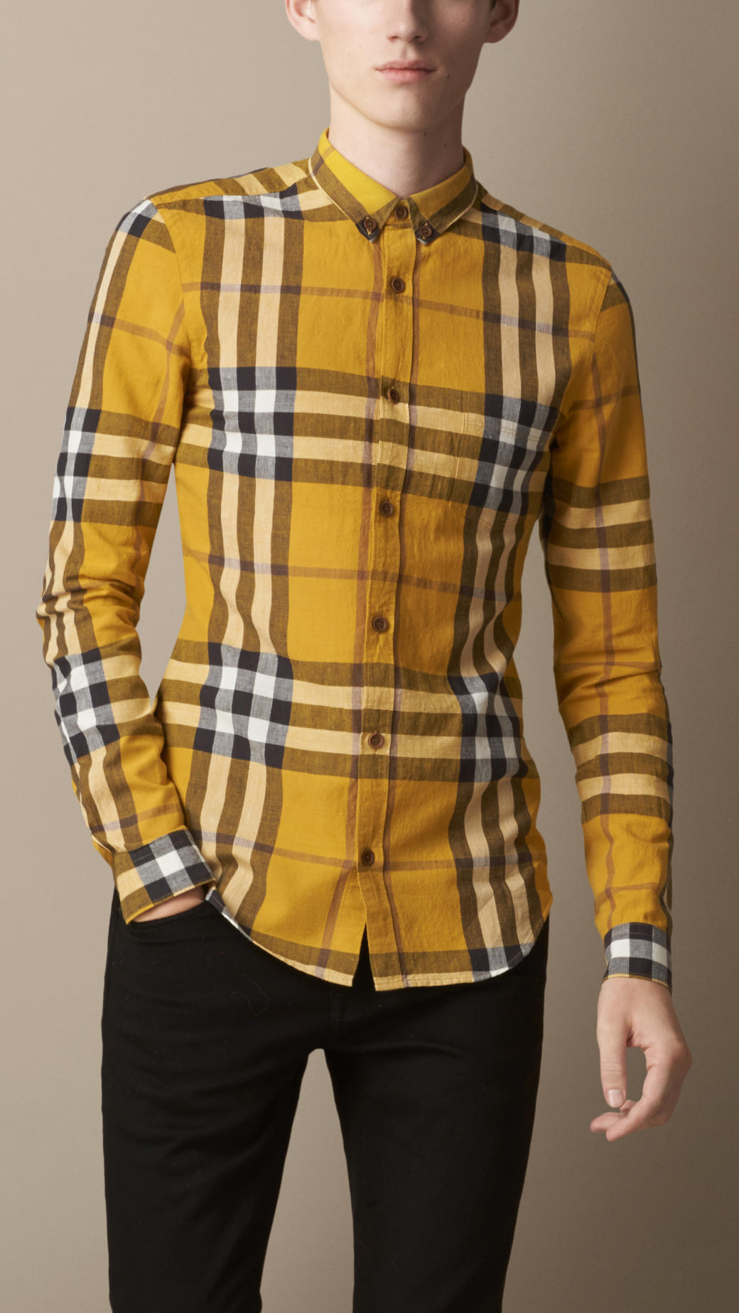 Lyst - Burberry Exploded Check Cotton Linen Shirt in Yellow for Men 08bcf41af1