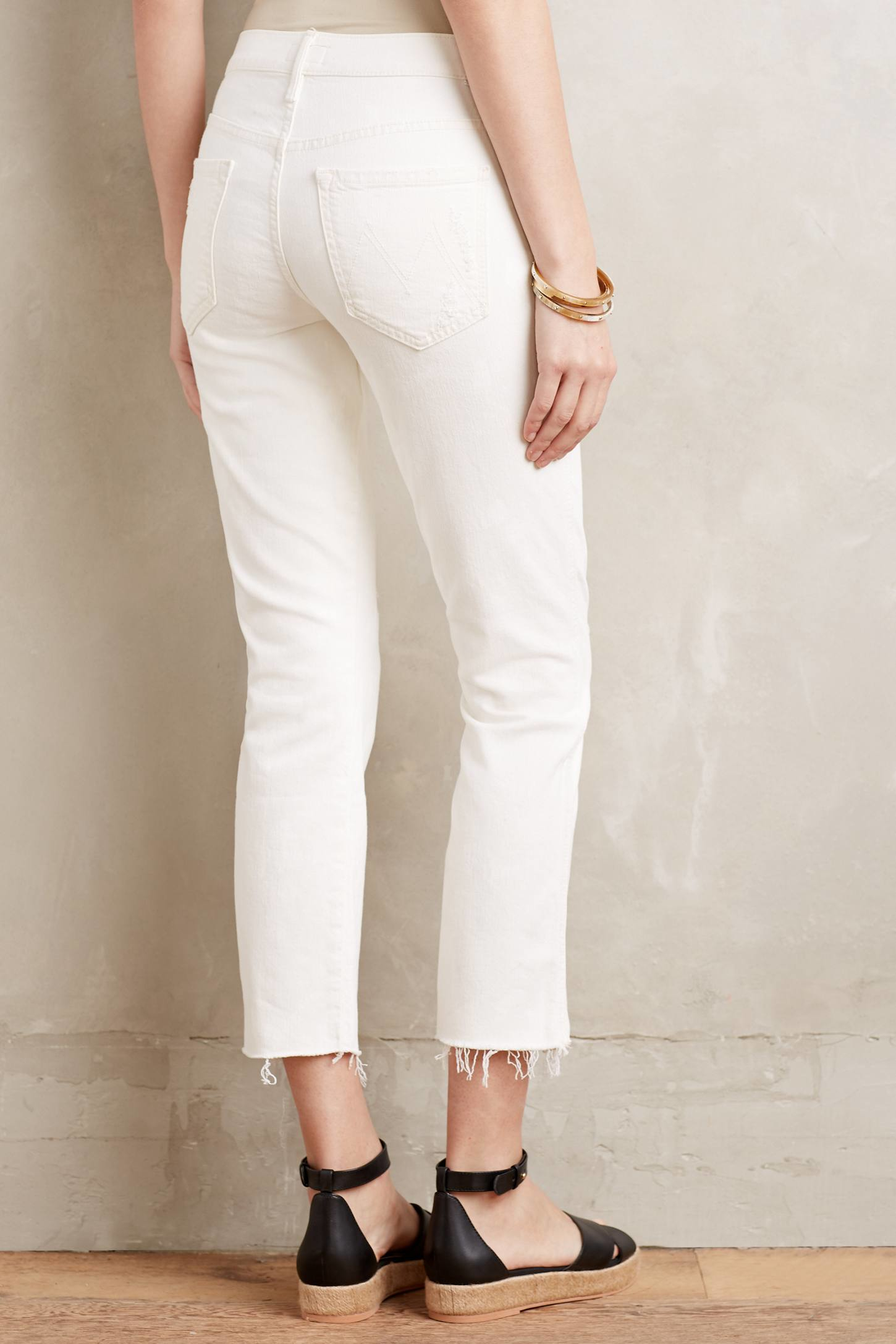 Mother Tootsie Fray Jeans in White | Lyst