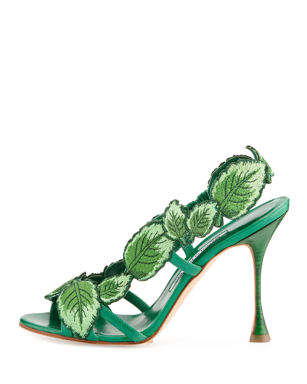 7859f7ed3fd8 Lyst - Manolo Blahnik Climatida Leaf Embroidered Sandal in Green