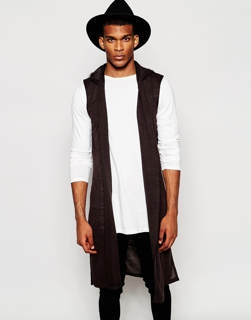 Asos Extreme Longline Sleeveless Cardigan With Hood In Nepp in ...