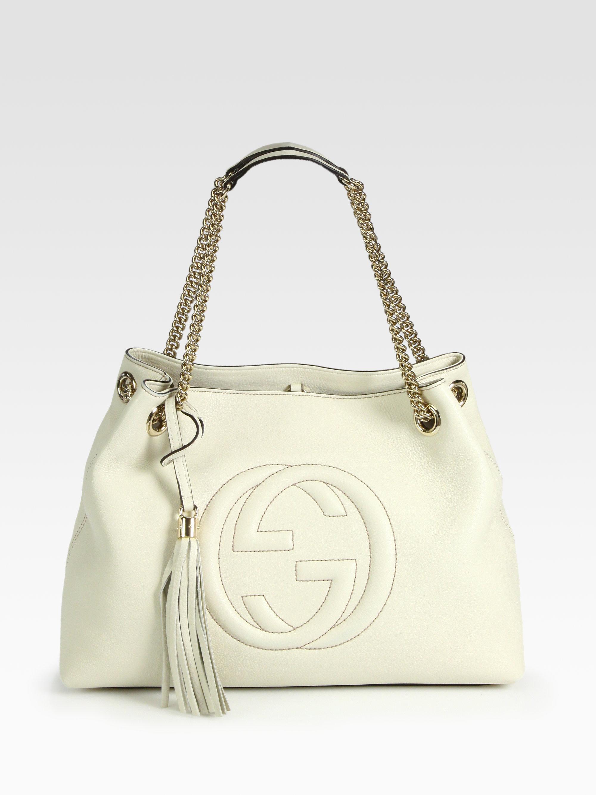 92a2025da6c7a Gucci Soho Leather Shoulder Bag in White - Lyst