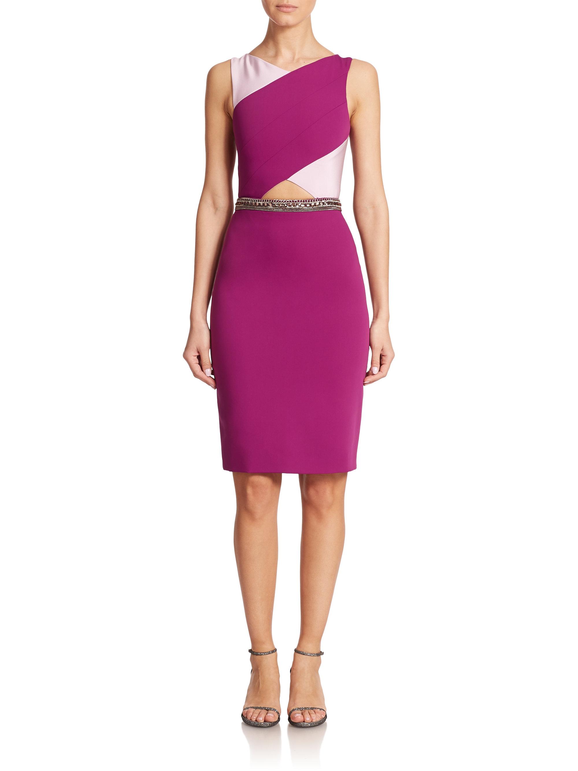pamella roland crepe cutout detail dress in purple lyst