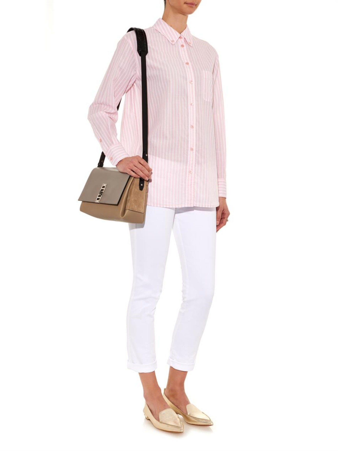 Lyst equipment striped cotton shirt in pink for Pink white striped shirt