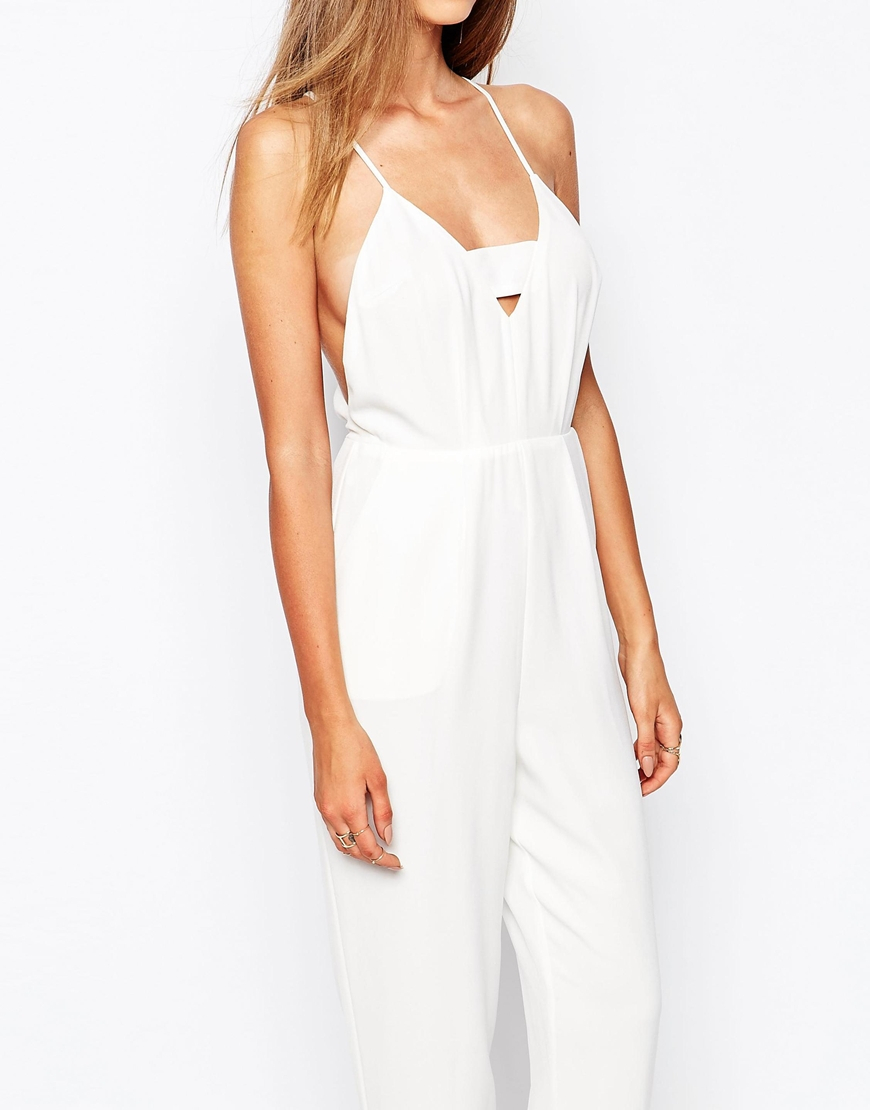 be7ce032b30e Lyst - Missguided Plunge Insert Strappy Jumpsuit in White