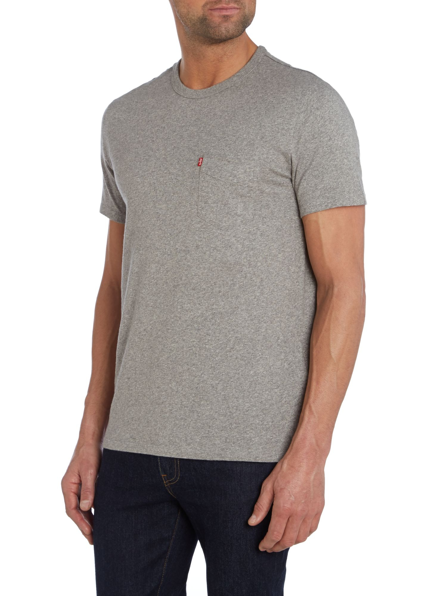 Levi 39 S Pocket Front Crew Neck T Shirt In Gray For Men