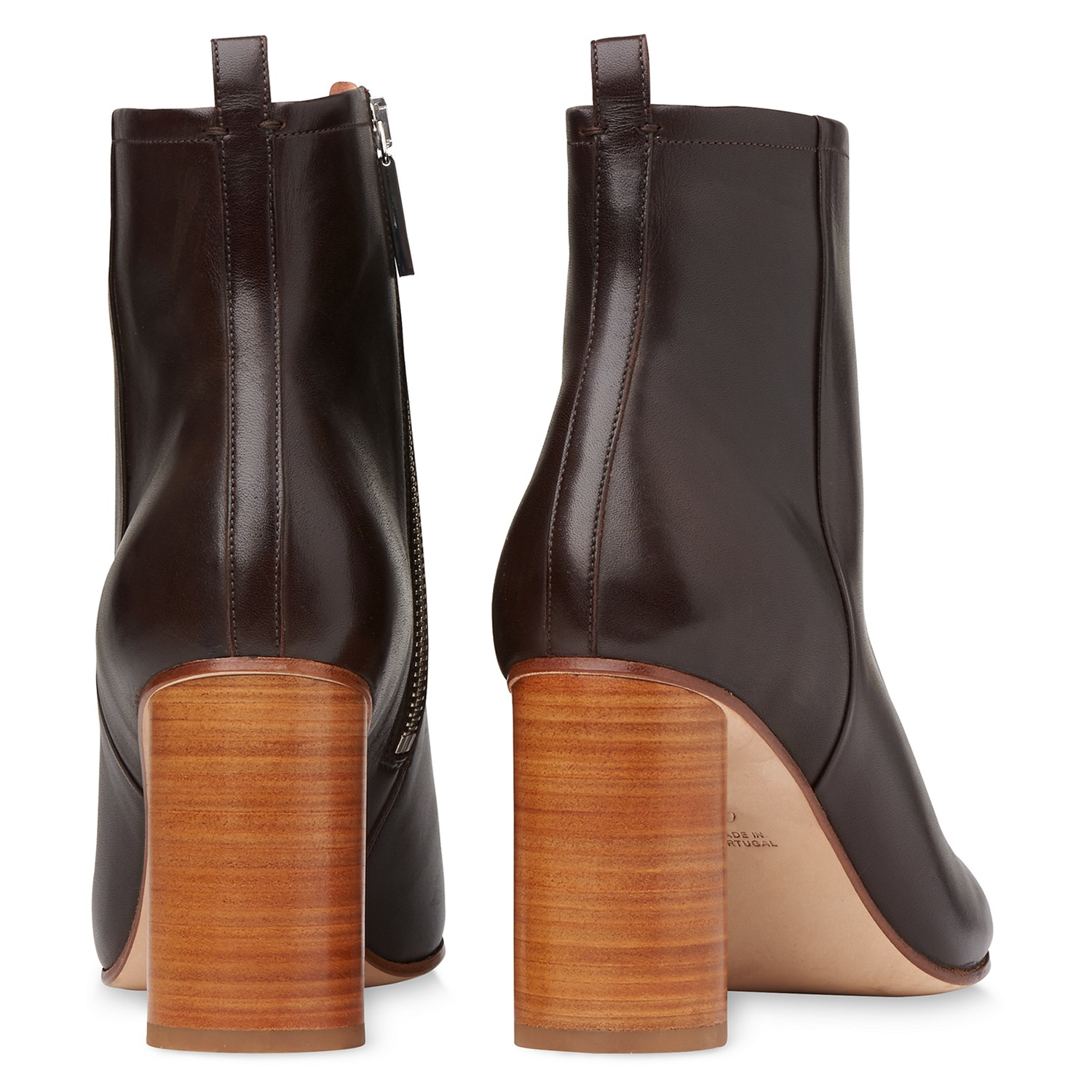 Whistles Leather Camb Stacked Heel Ankle Boots in Chocolate (Brown)