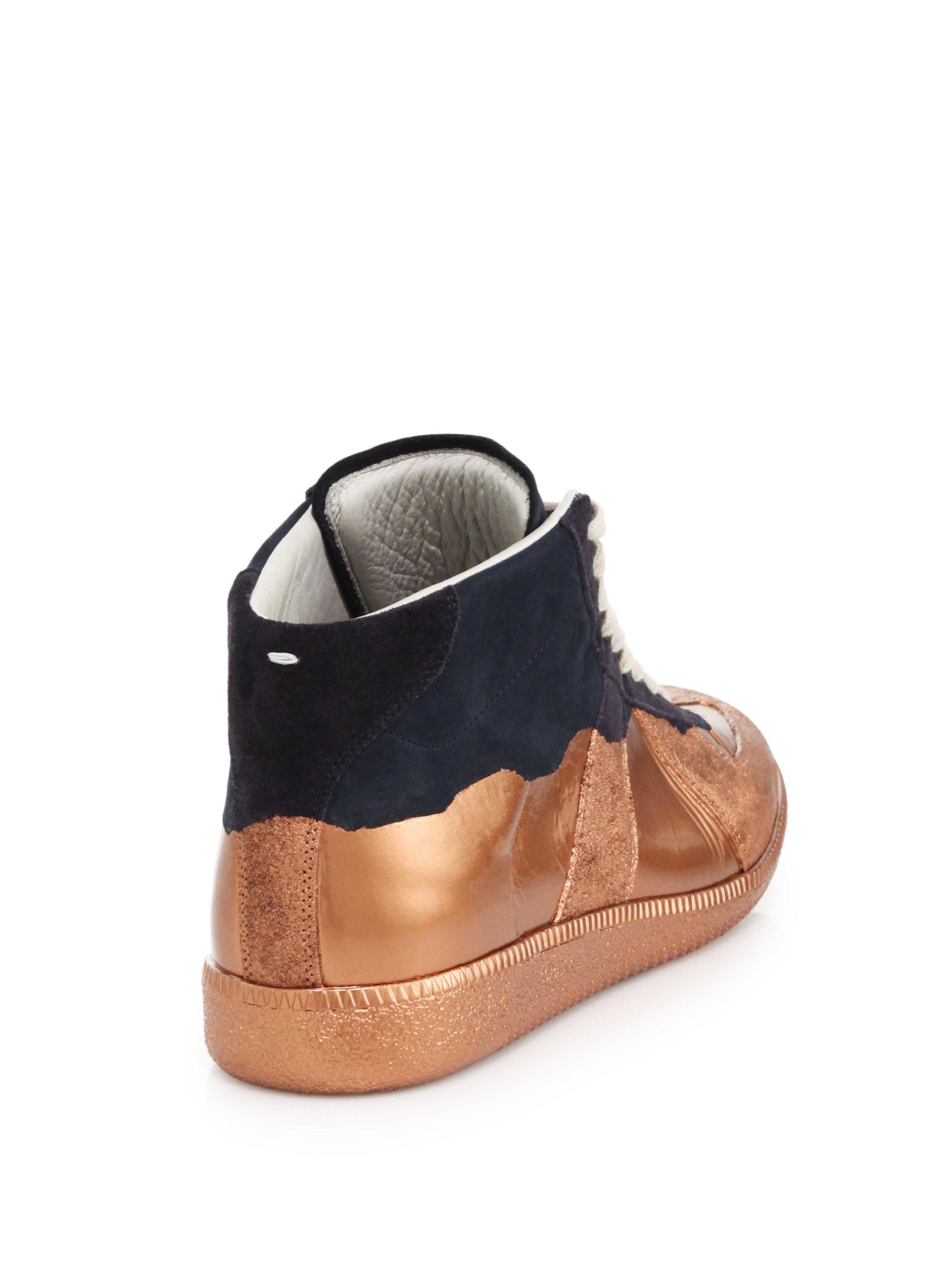 Lyst Maison Margiela Replica Multicolored Leather High top Sneaker