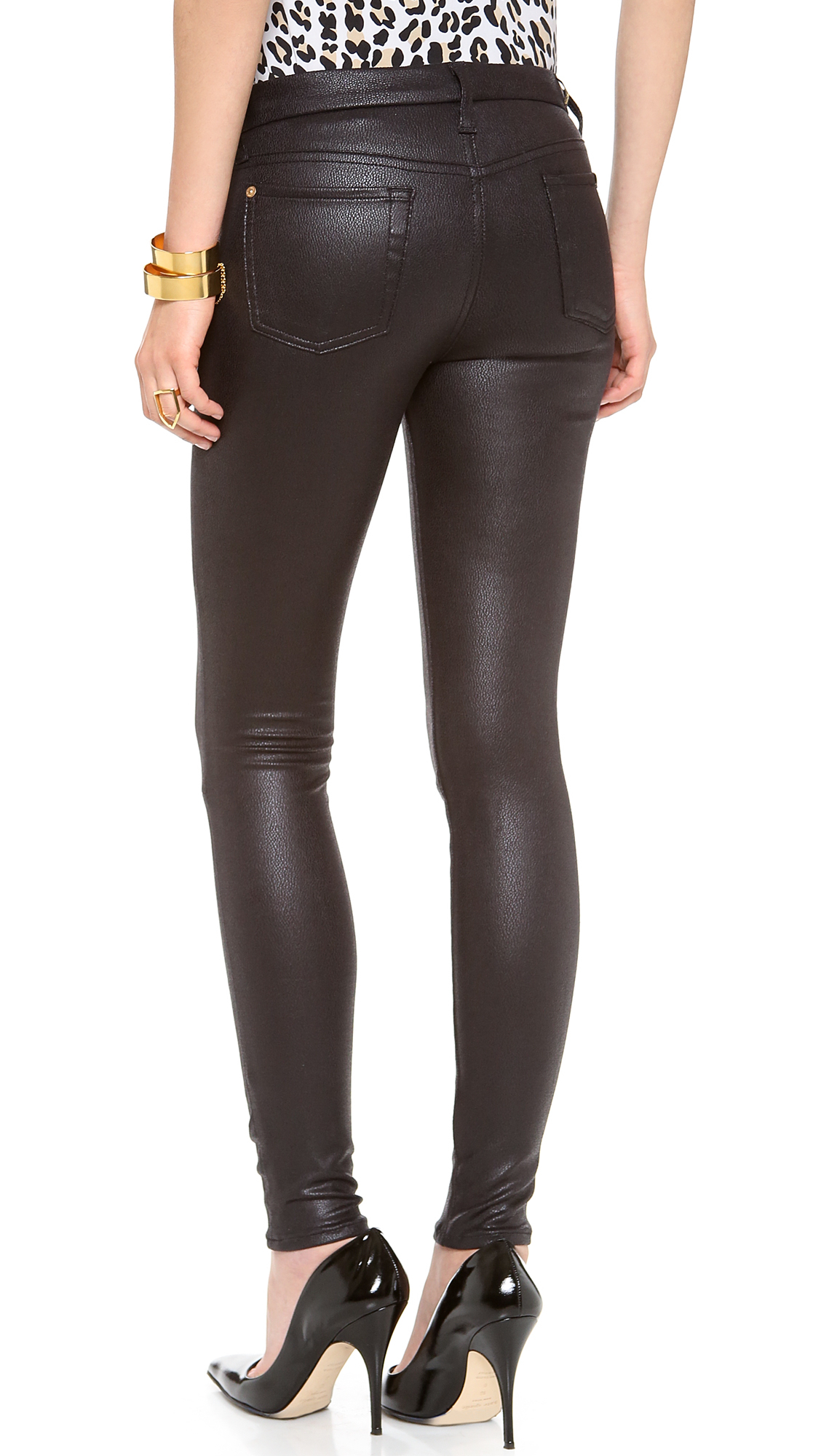 7 for all mankind faux crackle leather skinny pants in