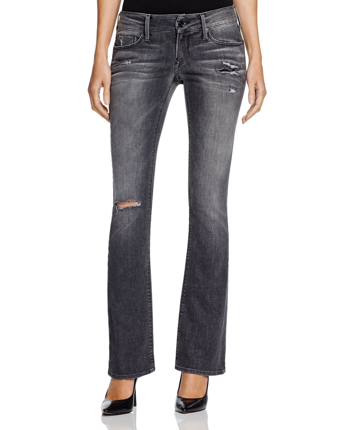 Black orchid Grey Destruction Bootcut Jeans In Overcast in Blue | Lyst