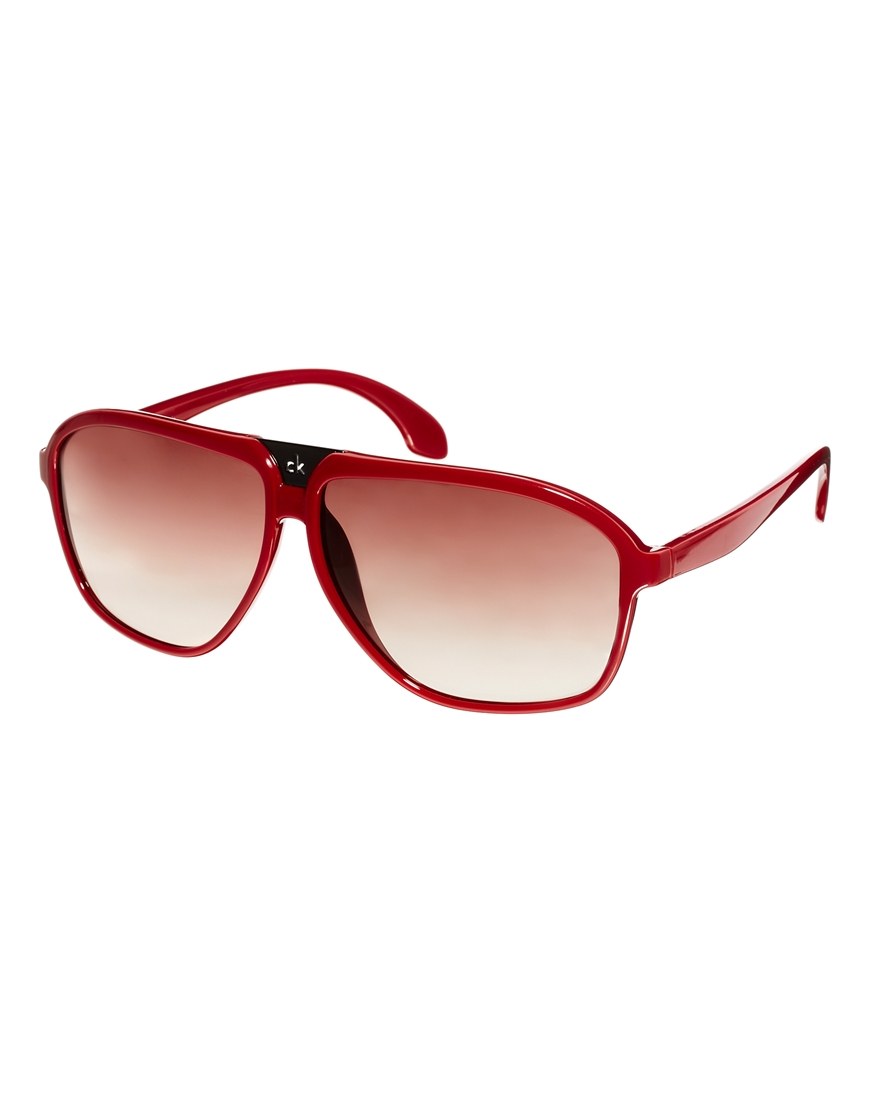 Lyst - Ck Calvin Klein D Frame Aviator Sunglasses in Red