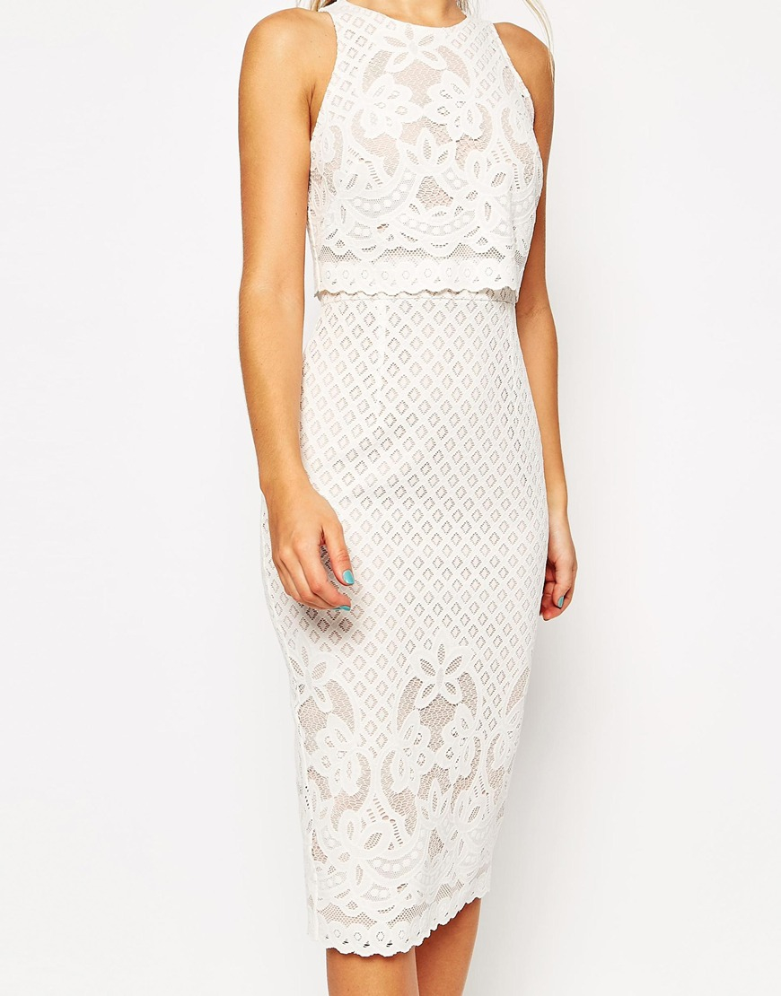 65251dacb5353 ... Lyst ASOS Floral Lace Crop Top Body conscious Midi Pencil Dress in