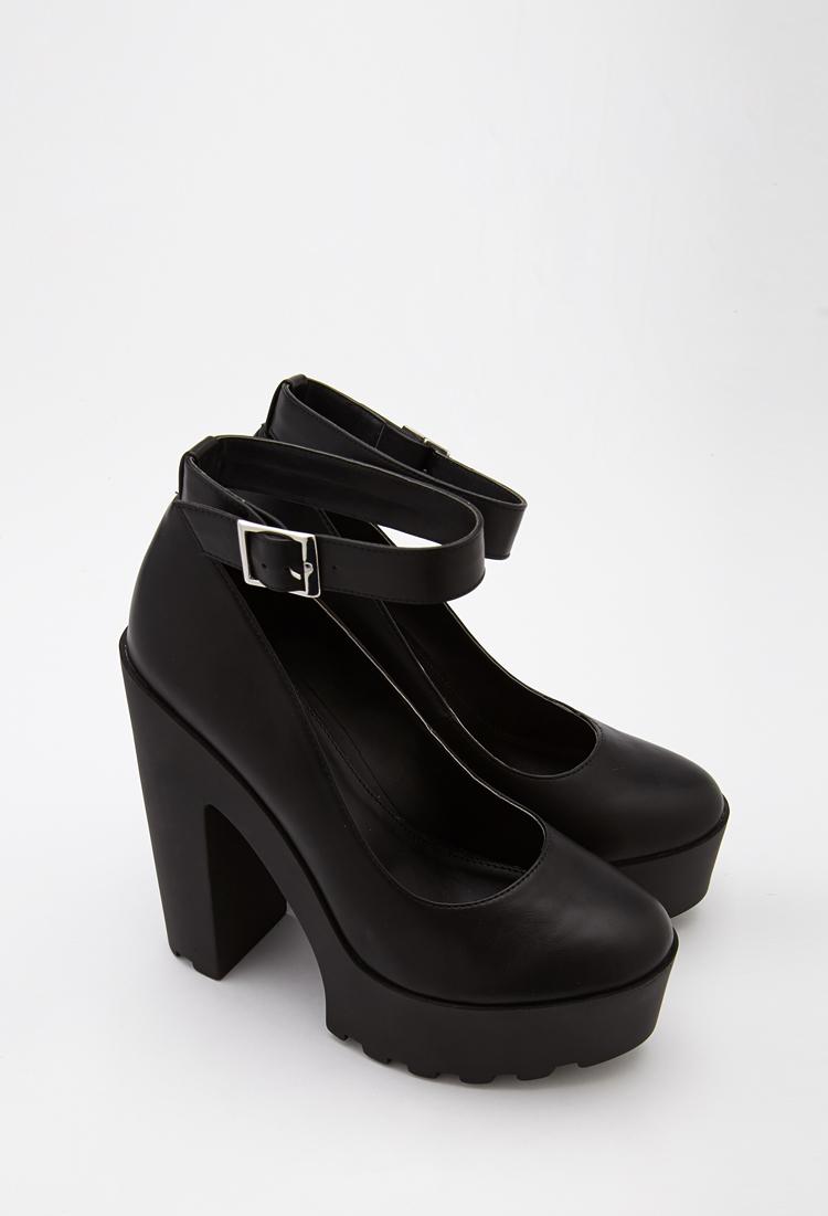 Forever 21 Lug Sole Ankle Strap Platform Heels in Black | Lyst