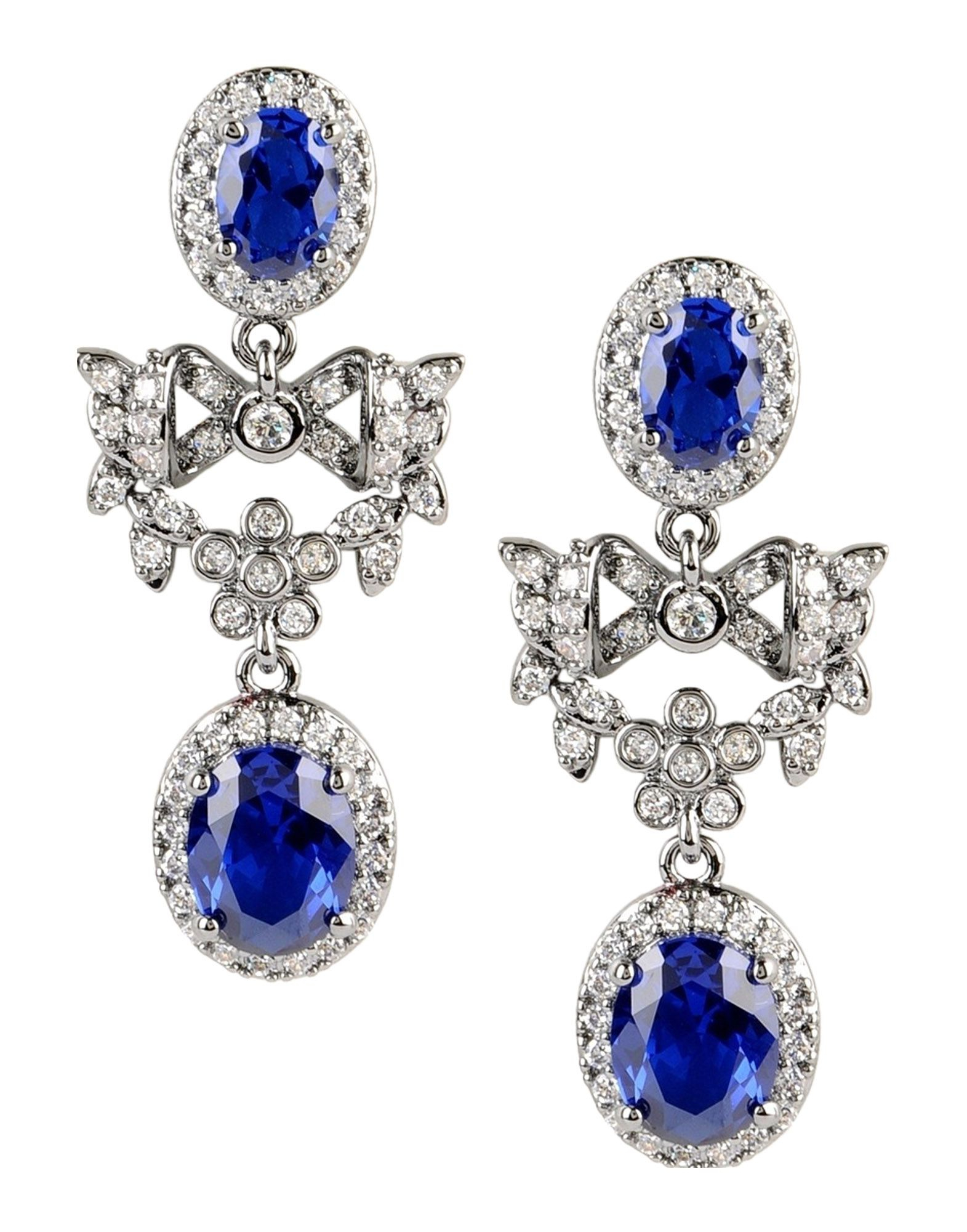 lyst cz by kenneth jay lane earrings in blue. Black Bedroom Furniture Sets. Home Design Ideas