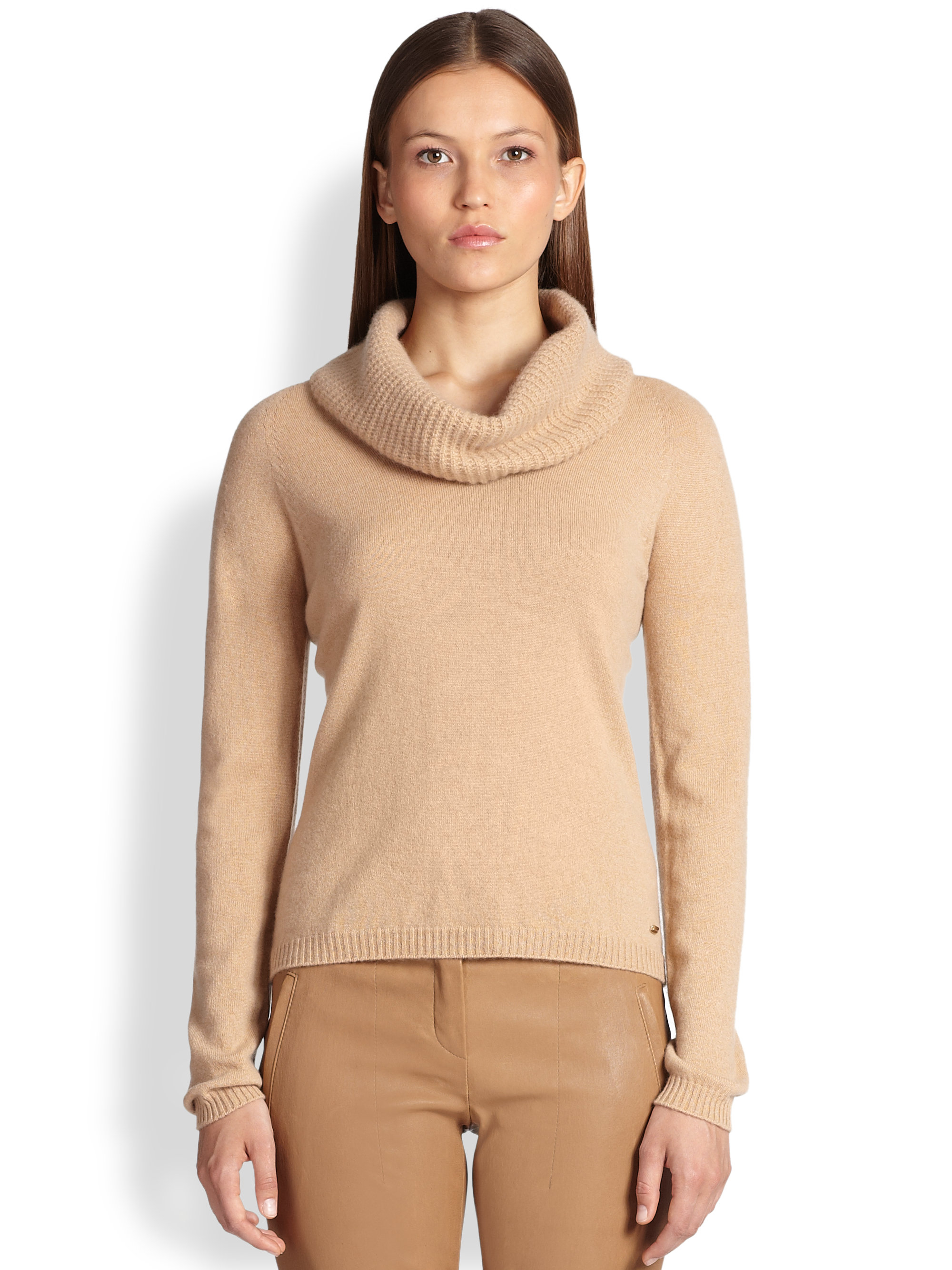 Escada Cashmere Cowl-Neck Sweater in Brown | Lyst