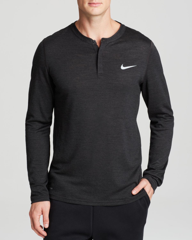 Nike long sleeve henley in black for men lyst for Black long sleeve henley shirt
