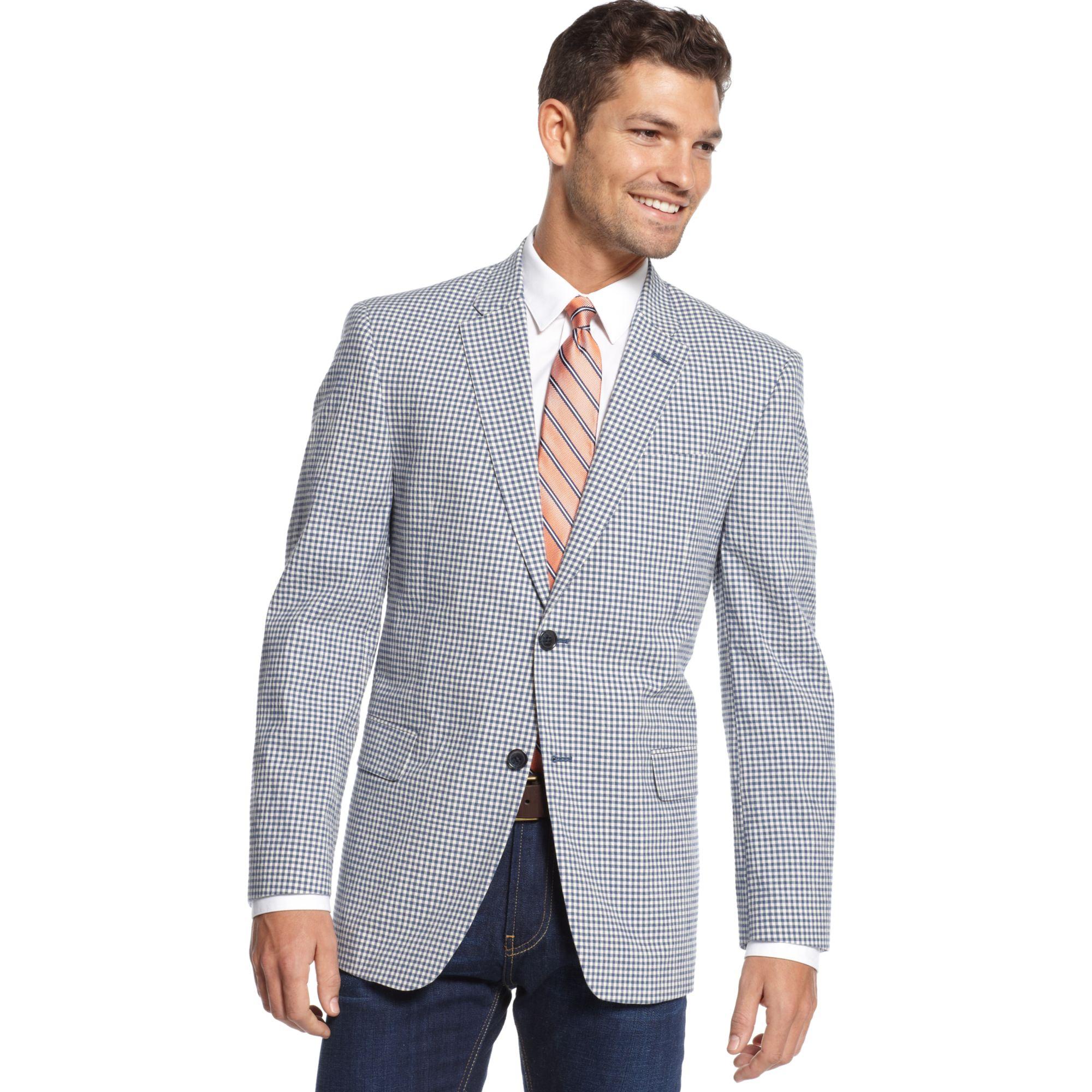 Tommy Hilfiger Seersucker Check Sport Coat Slim Fit In Blue White
