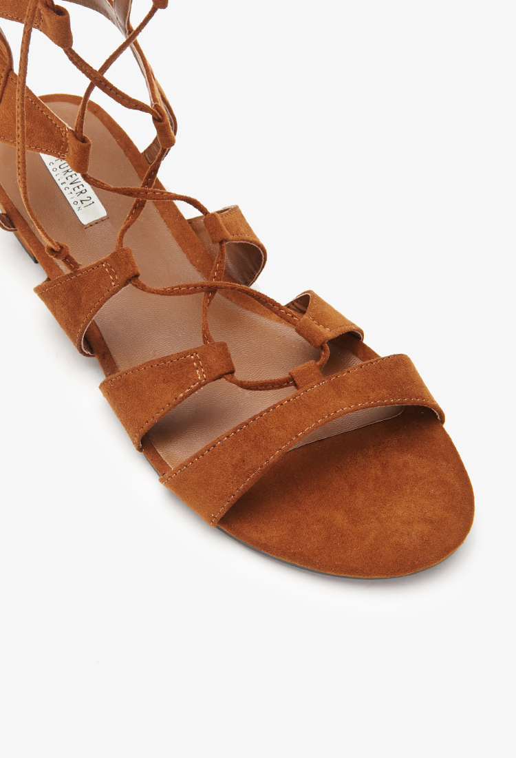 e9c3c381d239 Lyst - Forever 21 Faux Suede Gladiator Sandals in Brown