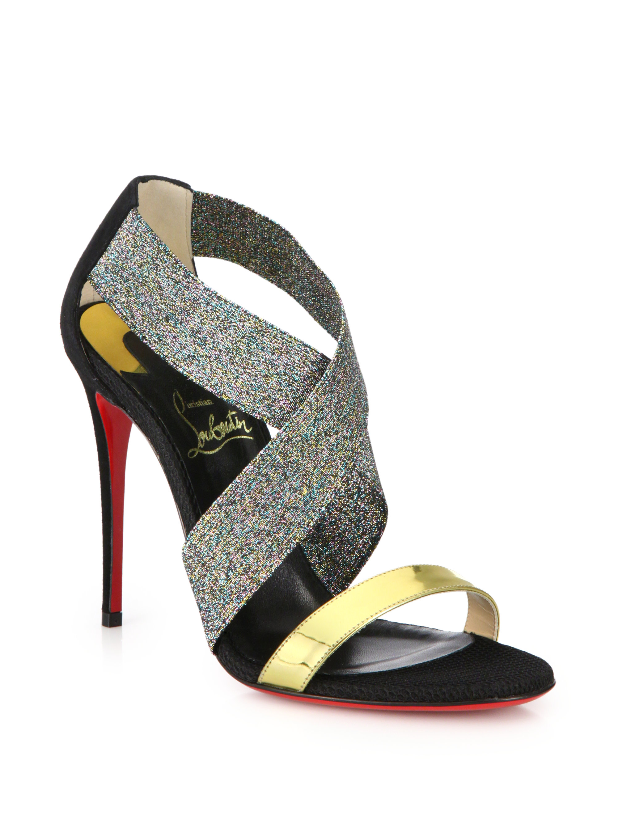 louboutin loafers - Christian louboutin Elastagram Metallic Leather Shimmer-Strap ...