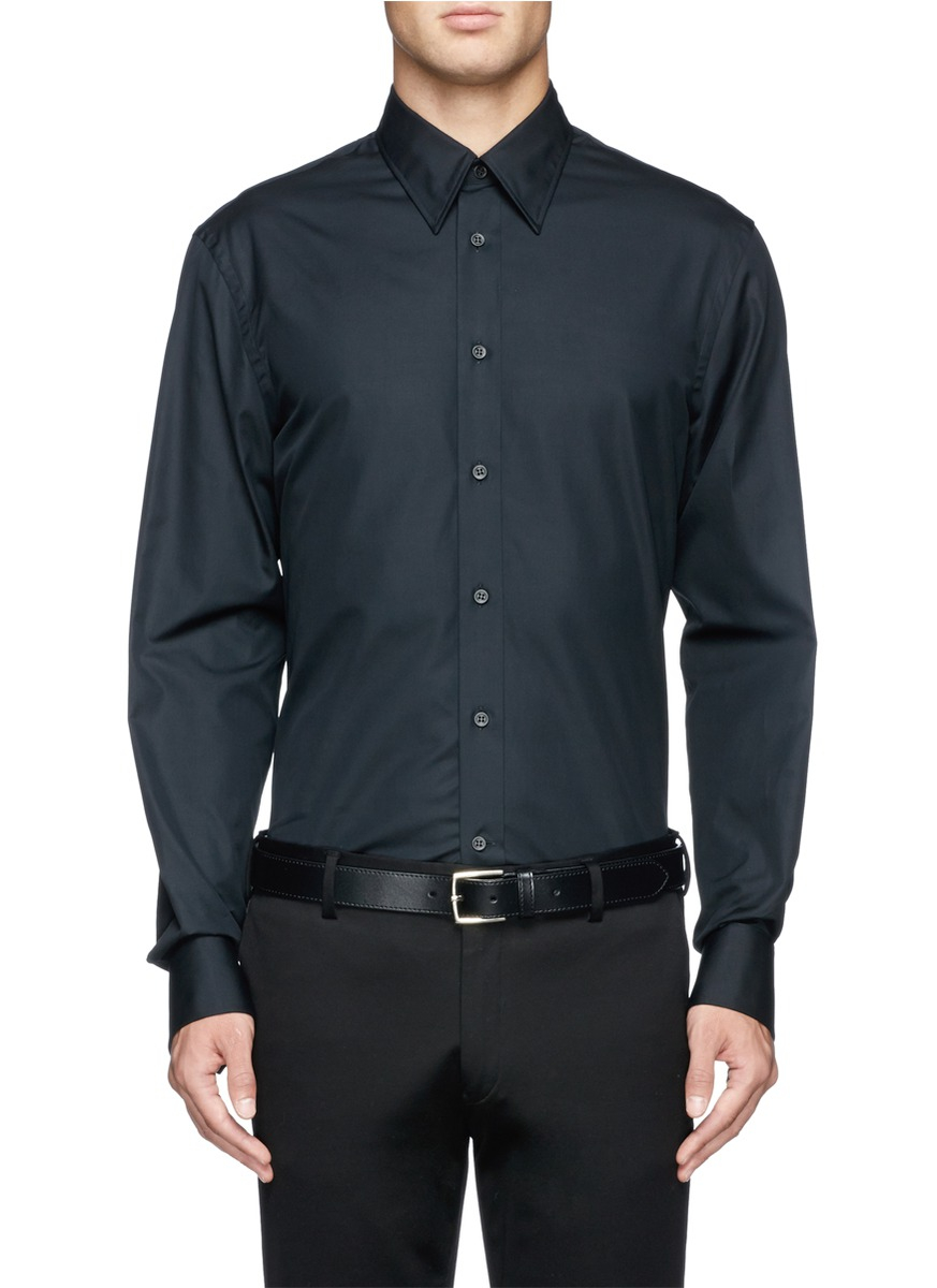 Alexander Mcqueen Jewel Cufflink Poplin Shirt In Black For