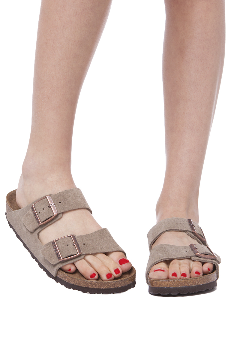 b83300a65 Lyst - Birkenstock Soft Footbed Taupe Suede Arizona in Gray