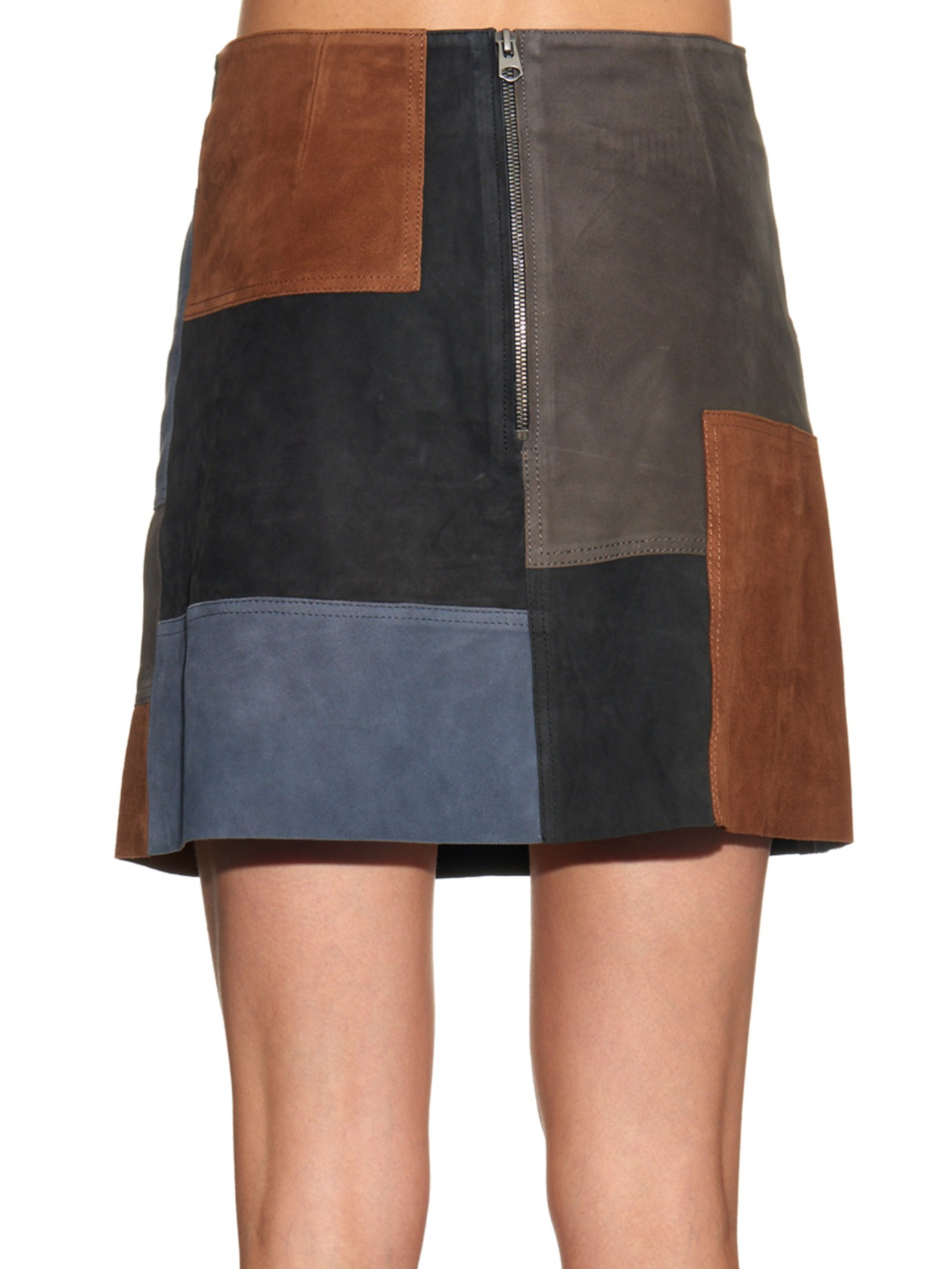 M.i.h jeans Patchwork Suede Mini Skirt | Lyst