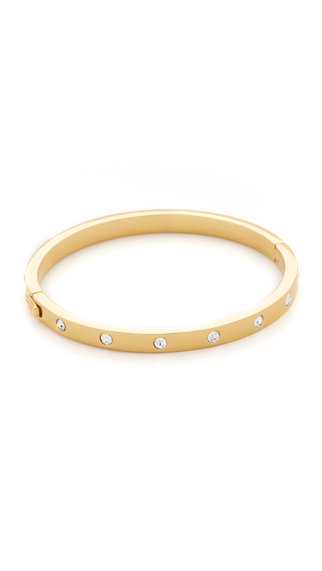 Kate Spade Set In Stone Hinged Bangle In Gold Clear Gold