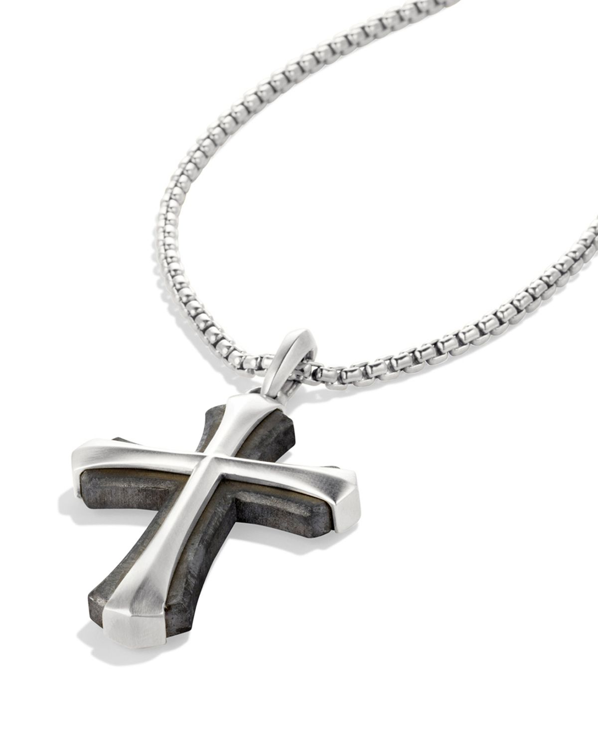 Lyst david yurman meteorite armory cross necklace in metallic gallery previously sold at bloomingdales mens cross necklaces mozeypictures Images