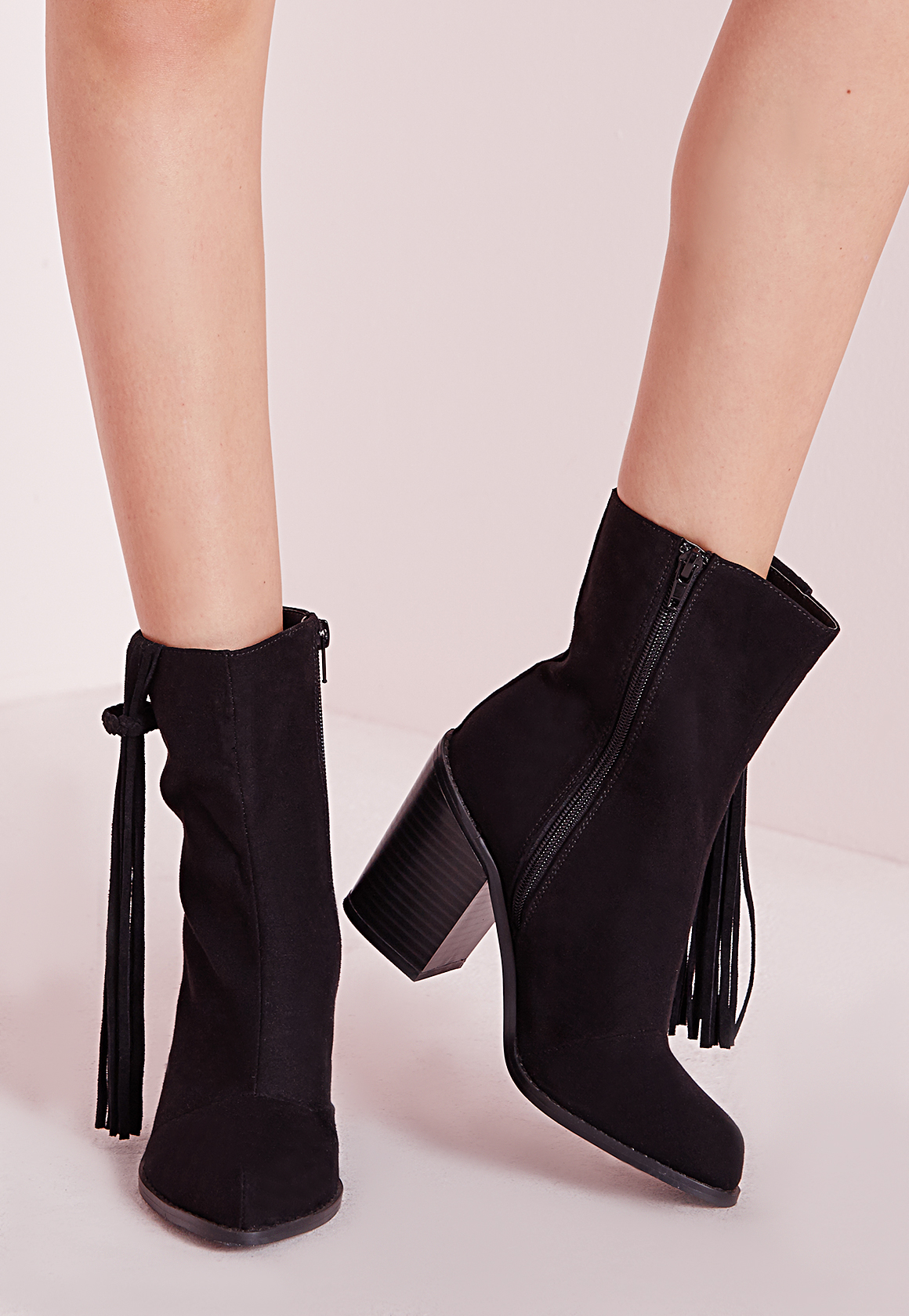 missguided tassel trim heeled ankle boots black in brown