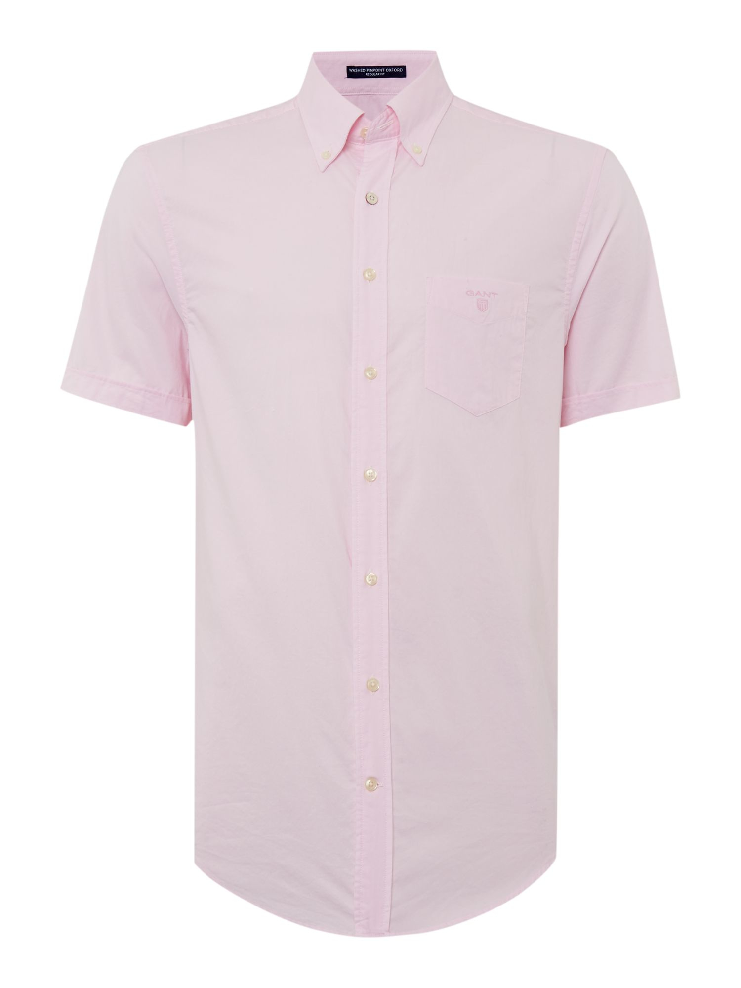 Gant washed pin point oxford short sleeve shirt in pink for Pink oxford shirt men