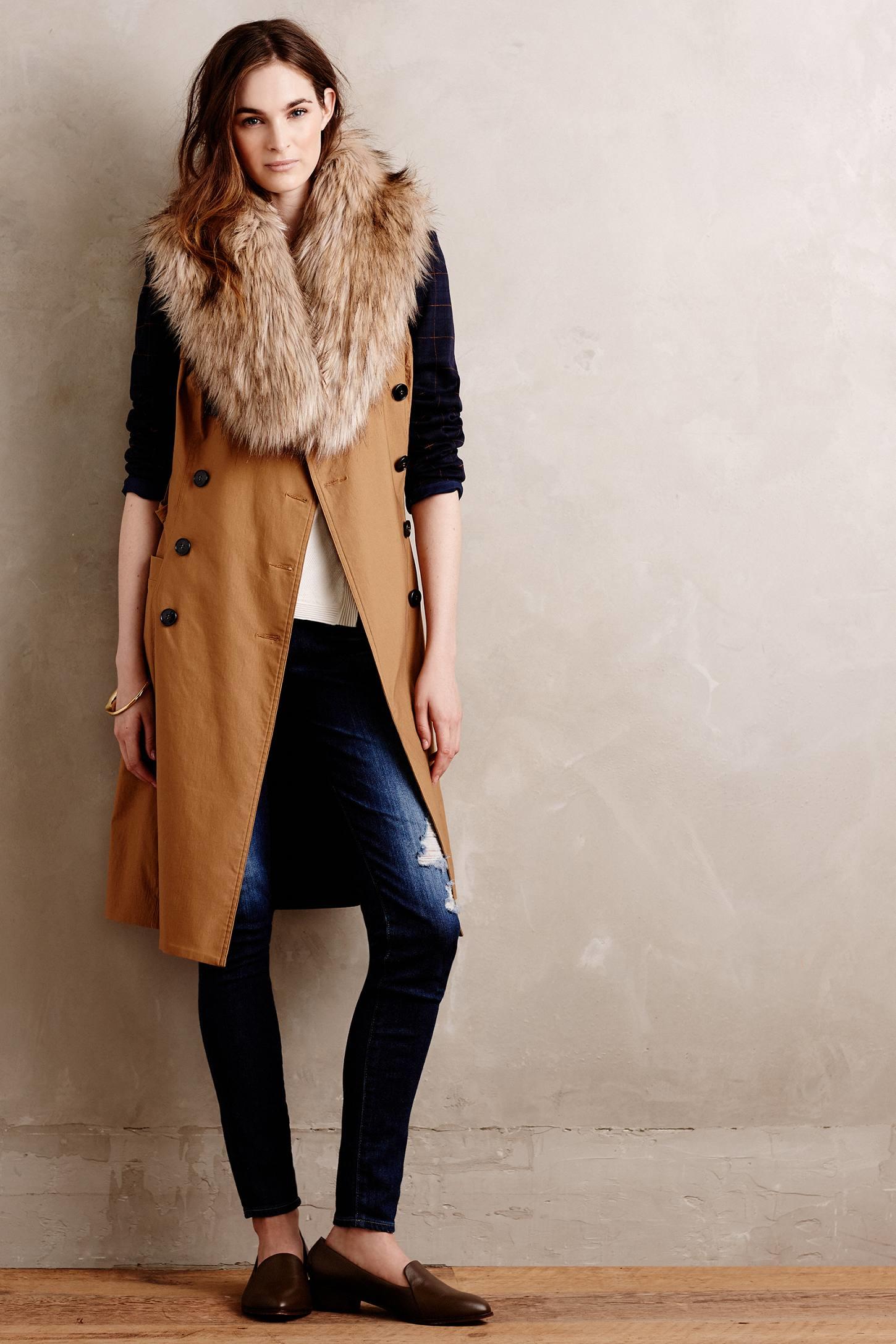 Anthropologie ingara faux fur stole in brown lyst - Stoel fur ...
