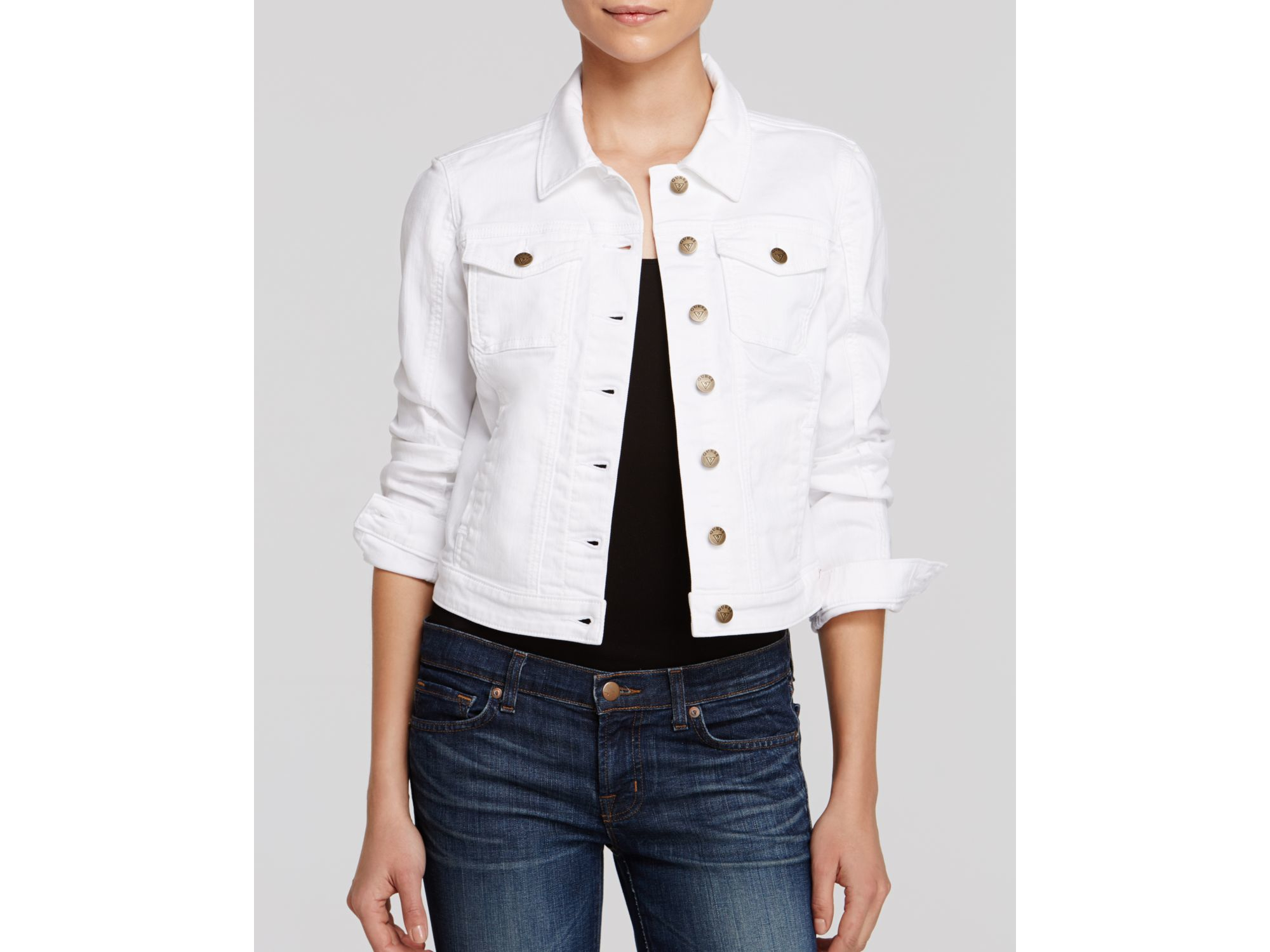 Lyst - Guess Denim Jacket - Classic Cropped White in White