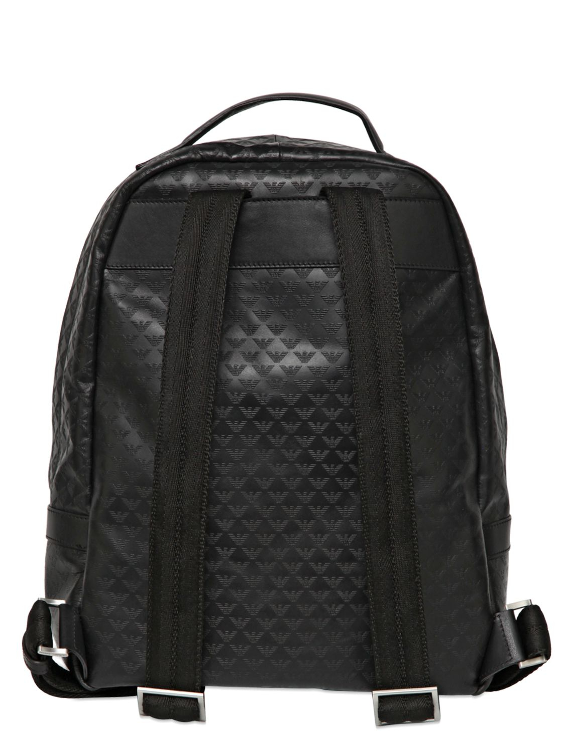 Lyst - Emporio Armani Printed Logo Leather Backpack in