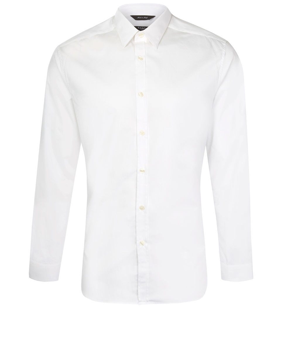 Paul Smith White Tailored Cotton Poplin Shirt In White For