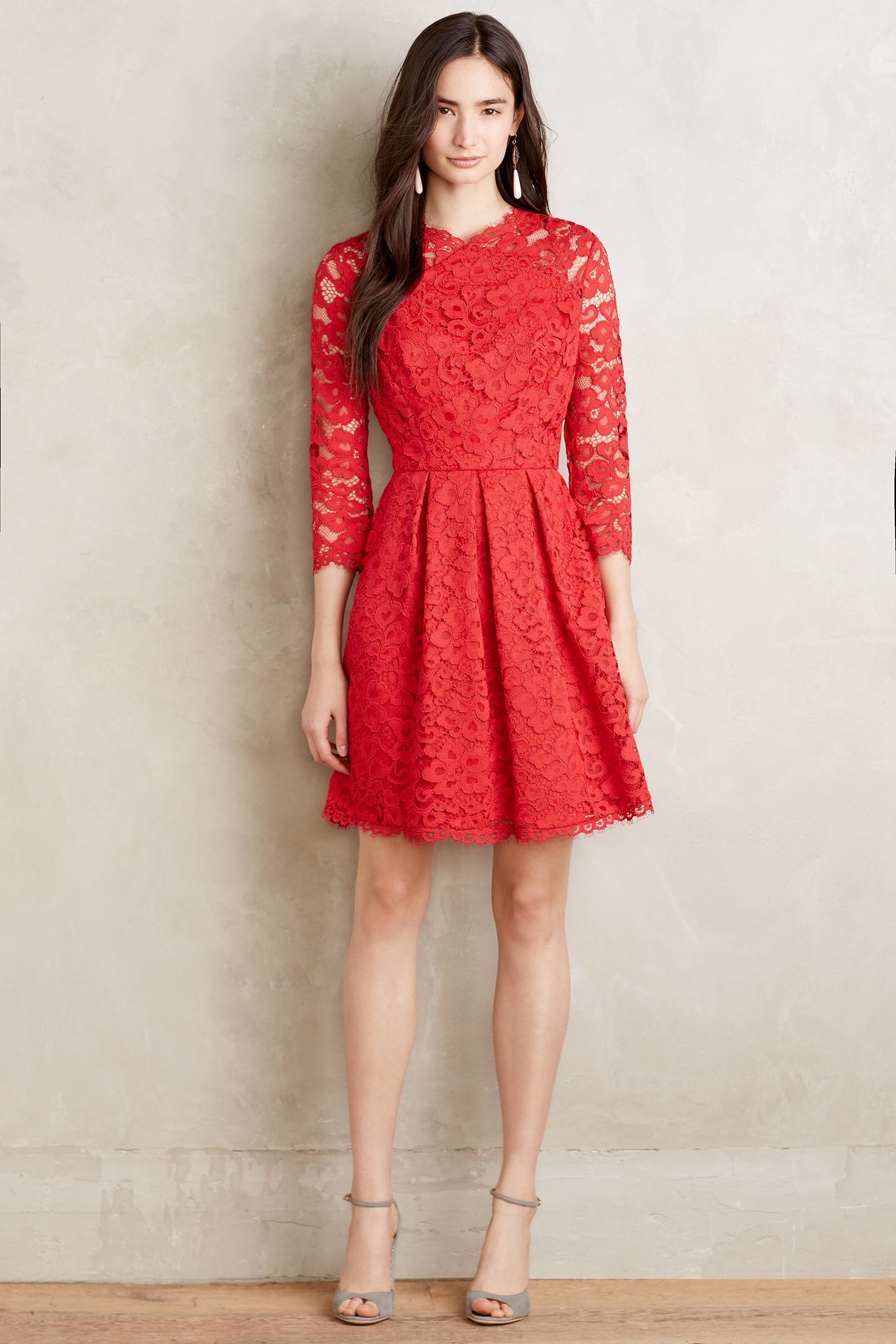 Shoshanna Vermillion Lace Dress in Red  Lyst