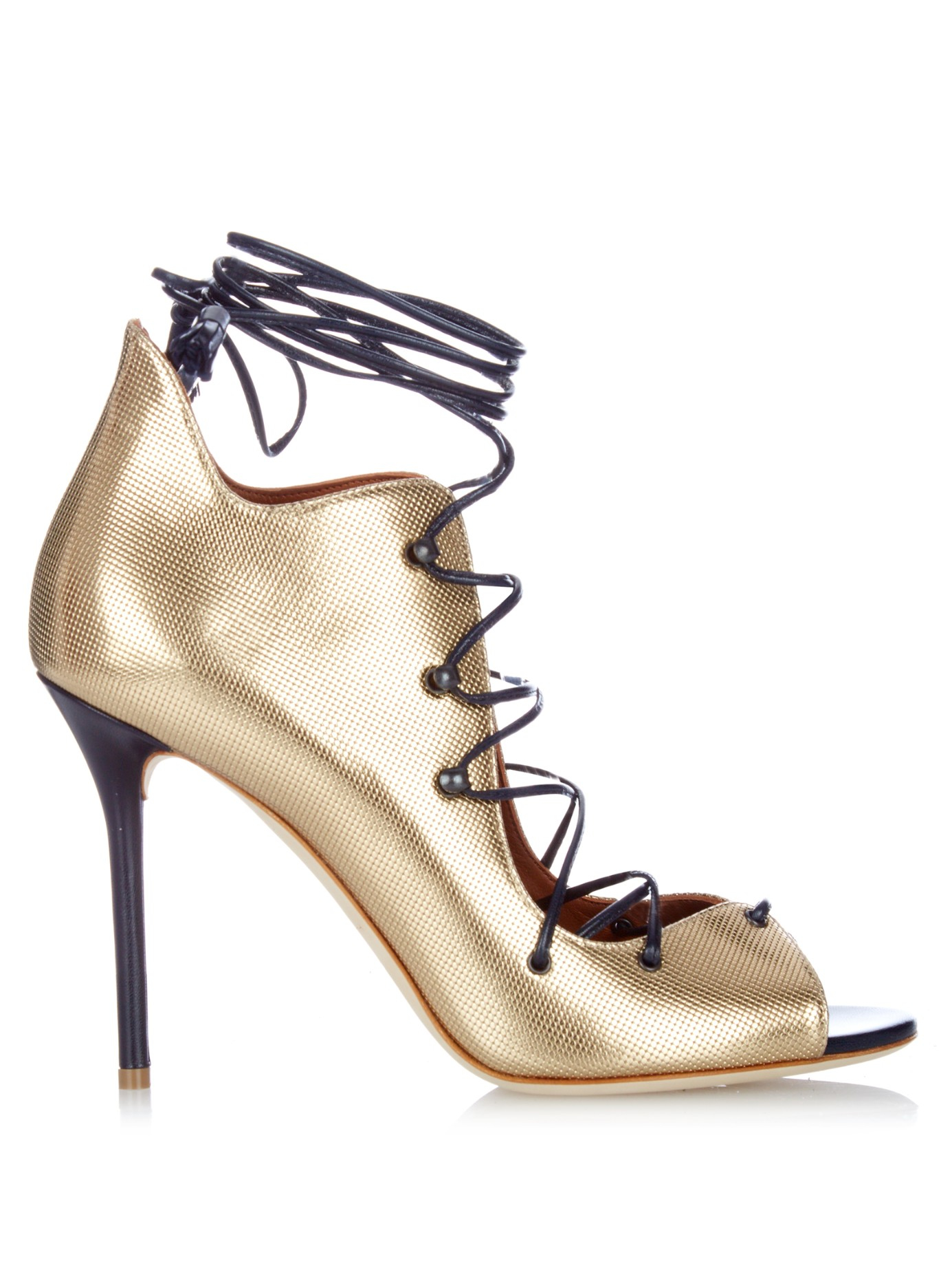 c912f8353c3 Malone Souliers Savannah Lace-up Leather Sandals in Metallic - Lyst