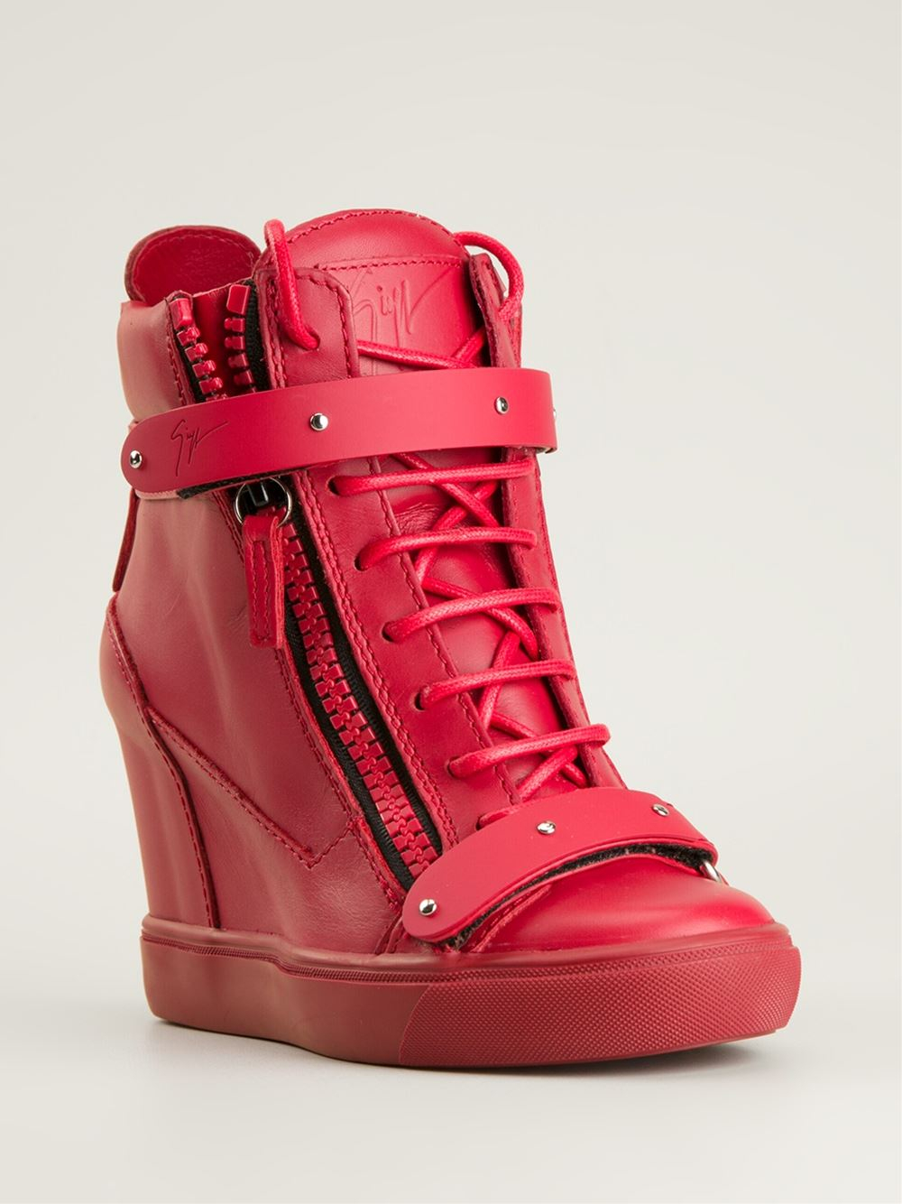 Giuseppe Zanotti Hitop Wedge Sneakers In Red Lyst