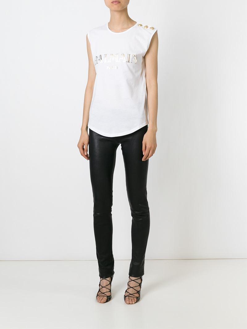 Lyst balmain foil logo t shirt in white for Balmain white logo t shirt