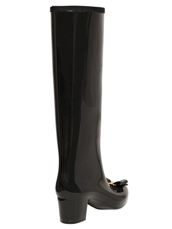 Ferragamo 50mm Niper Pvc Bow Rain Boots In Black Lyst