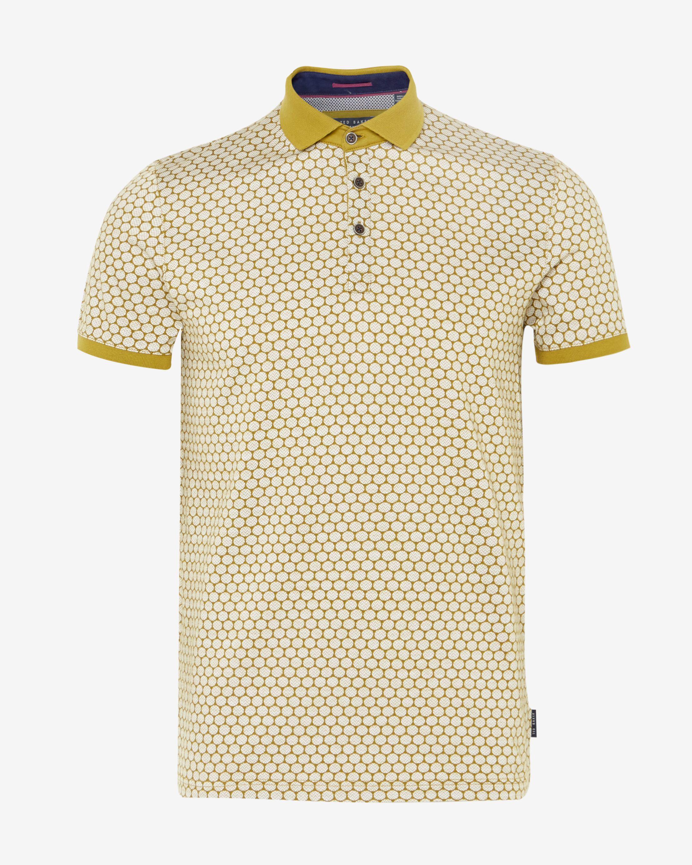 Ted baker runapp spot print polo shirt in green for men lyst for Ted baker mens polo shirts