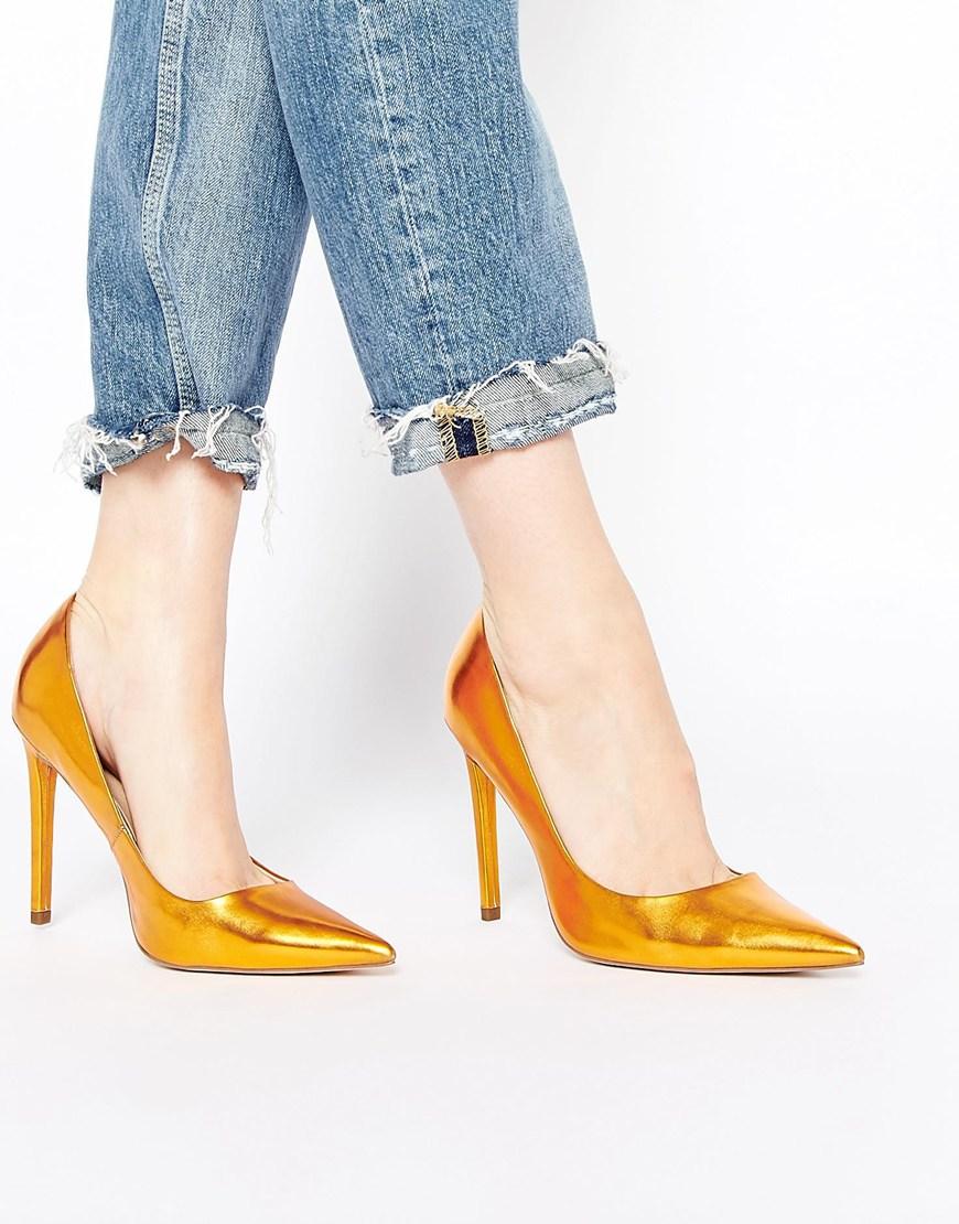 d0caaaa3863 Lyst - ASOS Platinum Pointed High Heels in Metallic