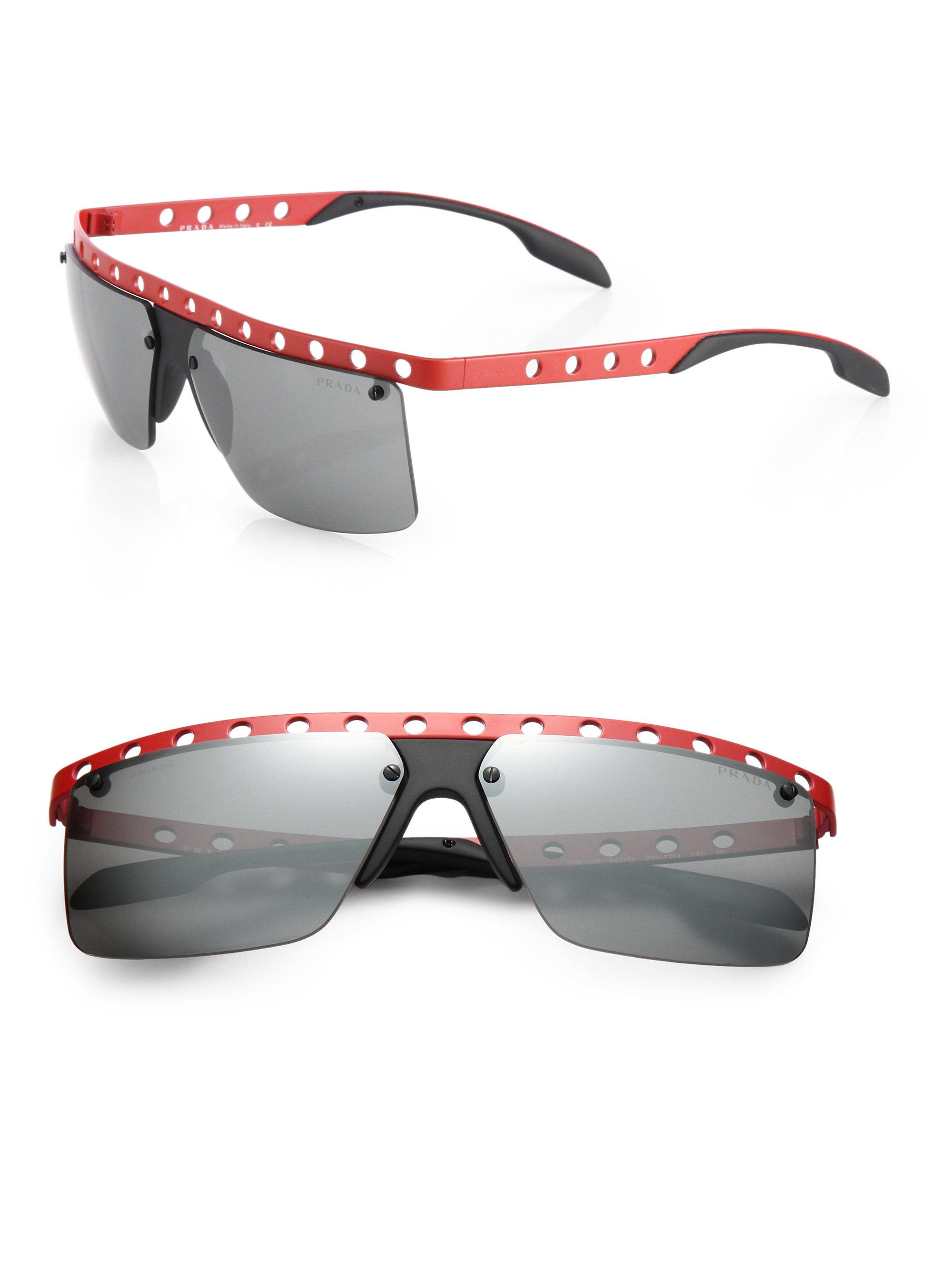b0058fbef16 Lyst - Prada 62mm Perforated Metal Rimless Rectangle Sunglasses in ...